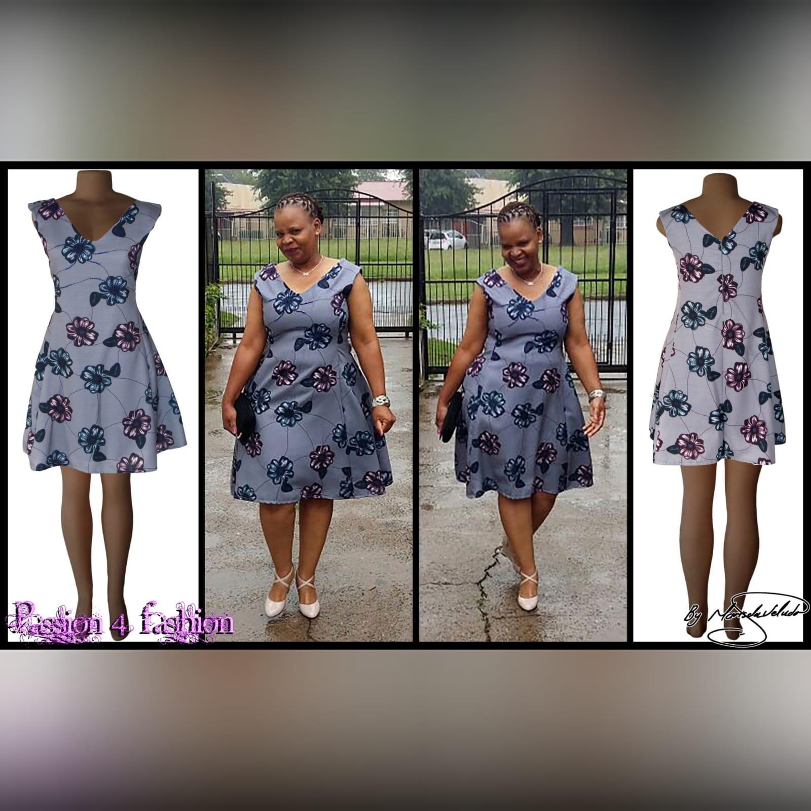 Grey floral smart casual knee length dress 5 grey floral smart casual knee length dress with a v neckline