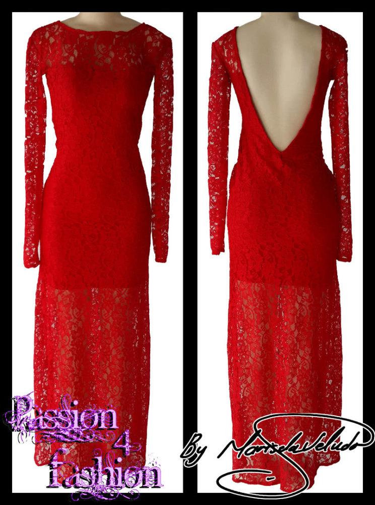 Vestido longo vermelho de renda