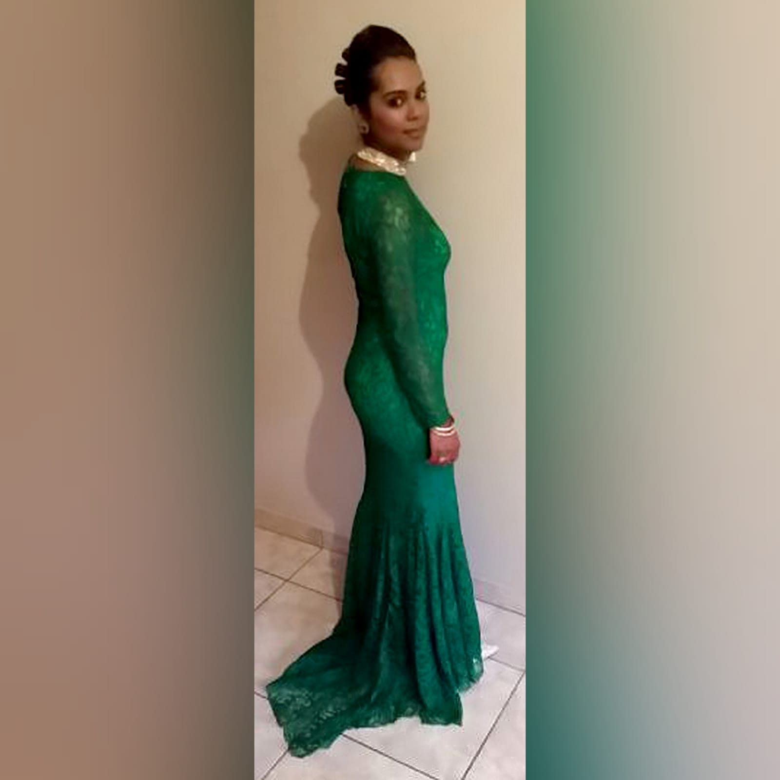 Emerald green fully laced soft mermaid evening dress 6 emerald green fully laced soft mermaid evening dress for an engagement party, with long sleeves