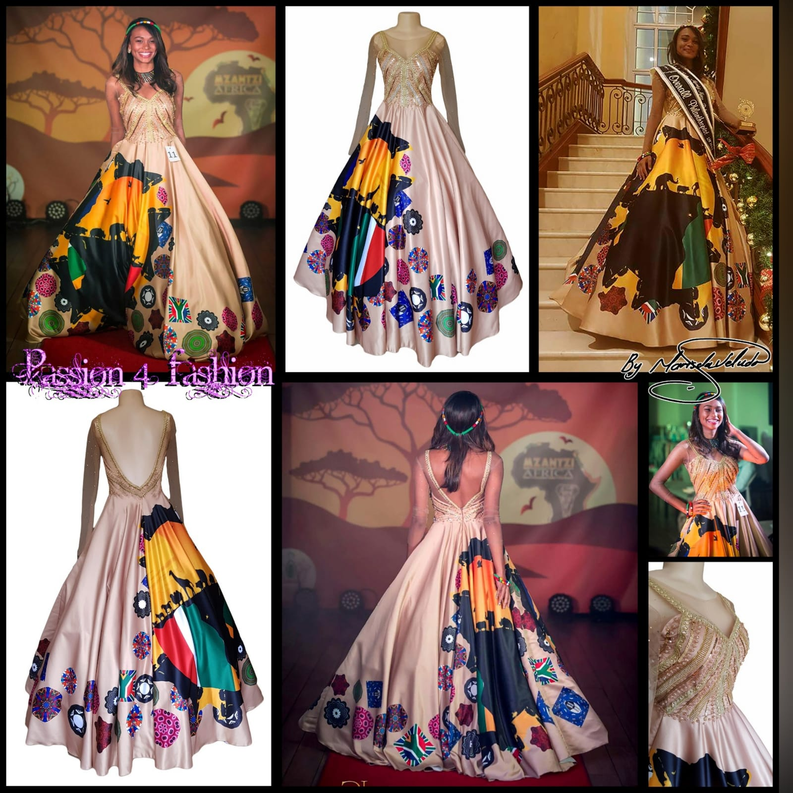 Gold ball gown for beauty pageant 8 gold ball gown for beauty pageant, bodice detailed in gold beadwork with sheer long sleeves, with a v open back. With traditional kaleidoscope print
