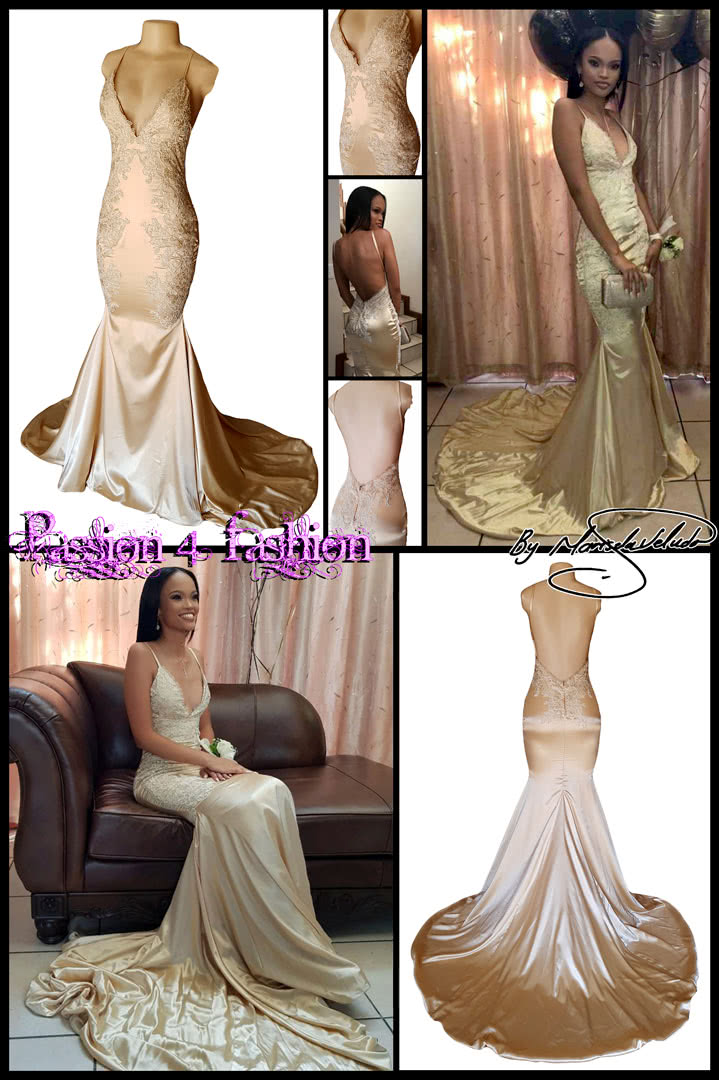 Gold satin soft mermaid matric dance dress with a V neckline