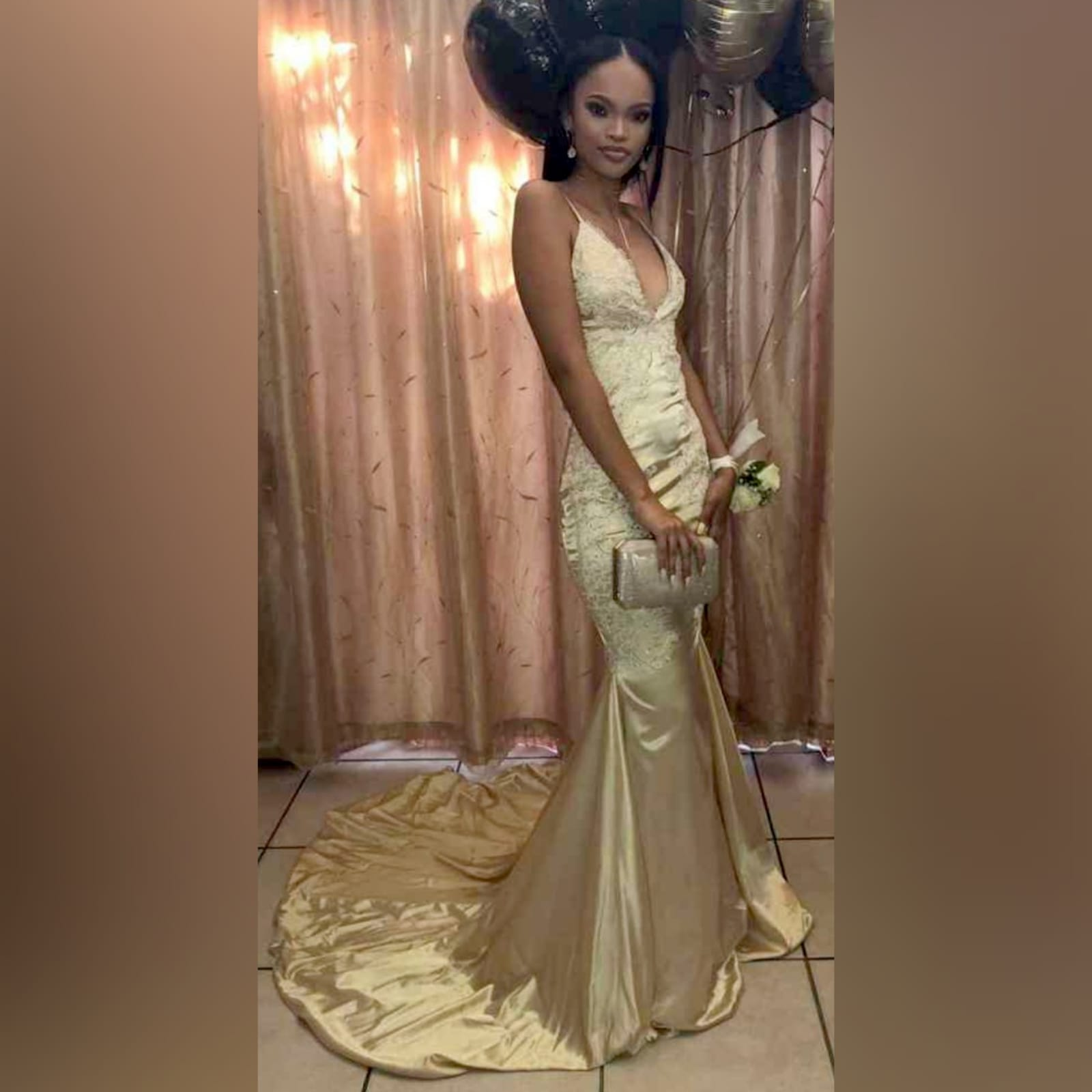 Gold satin soft mermaid matric farewell dress 4 gold satin soft mermaid matric farewell dress with a v neckline, a naked back and long train. Bodice hips and back detailed with lace.