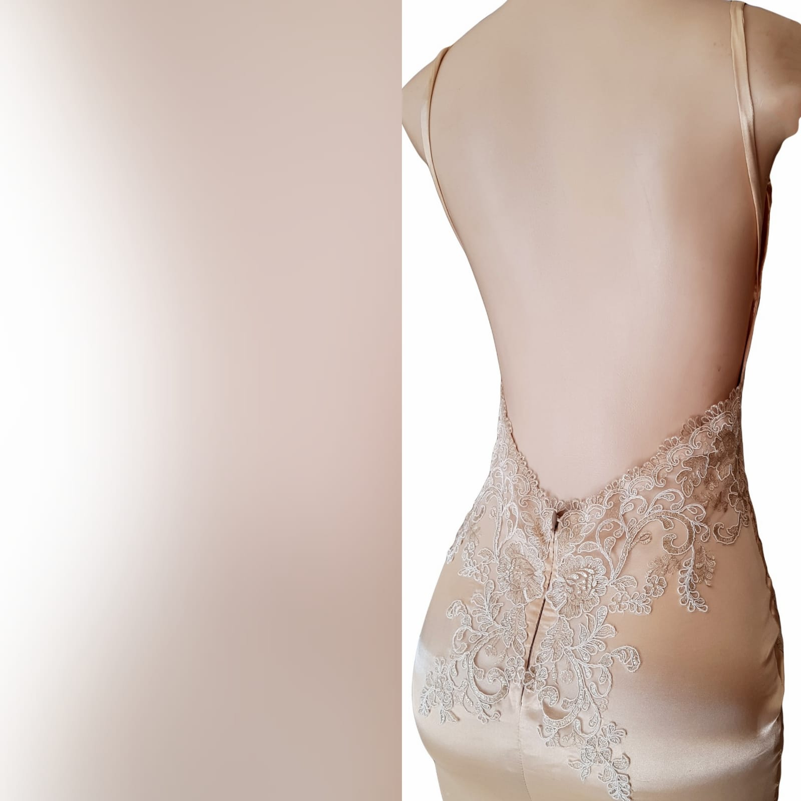 Gold satin soft mermaid matric farewell dress 6 gold satin soft mermaid matric farewell dress with a v neckline, a naked back and long train. Bodice hips and back detailed with lace.
