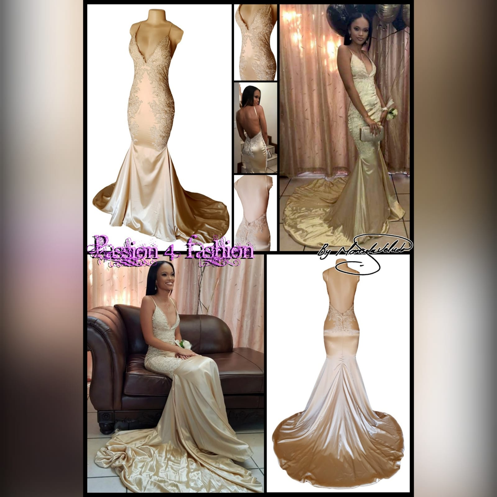 Gold satin soft mermaid matric farewell dress 7 gold satin soft mermaid matric farewell dress with a v neckline, a naked back and long train. Bodice hips and back detailed with lace.