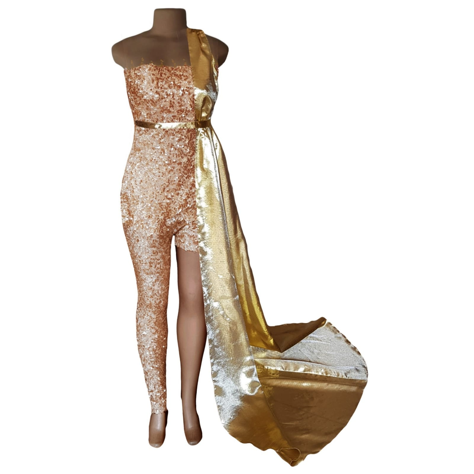 Gold sequins evening wear bodysuit 3 gold sequins evening wear bodysuit with an illusion neckline and sleeves, detailed with gold beads. With a long and short leg. Detachable side gold train.