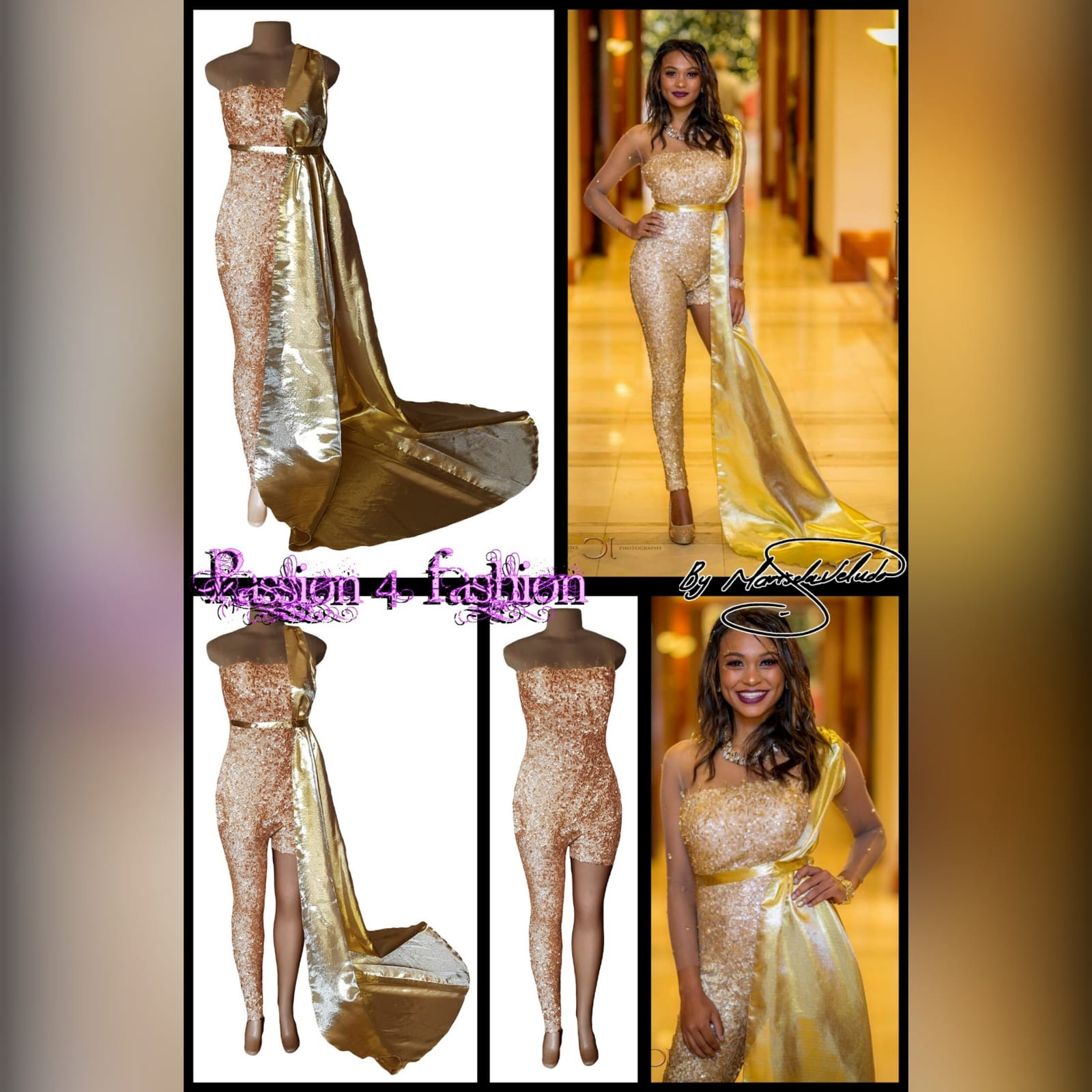 Gold sequins evening wear bodysuit 6 gold sequins evening wear bodysuit with an illusion neckline and sleeves, detailed with gold beads. With a long and short leg. Detachable side gold train.