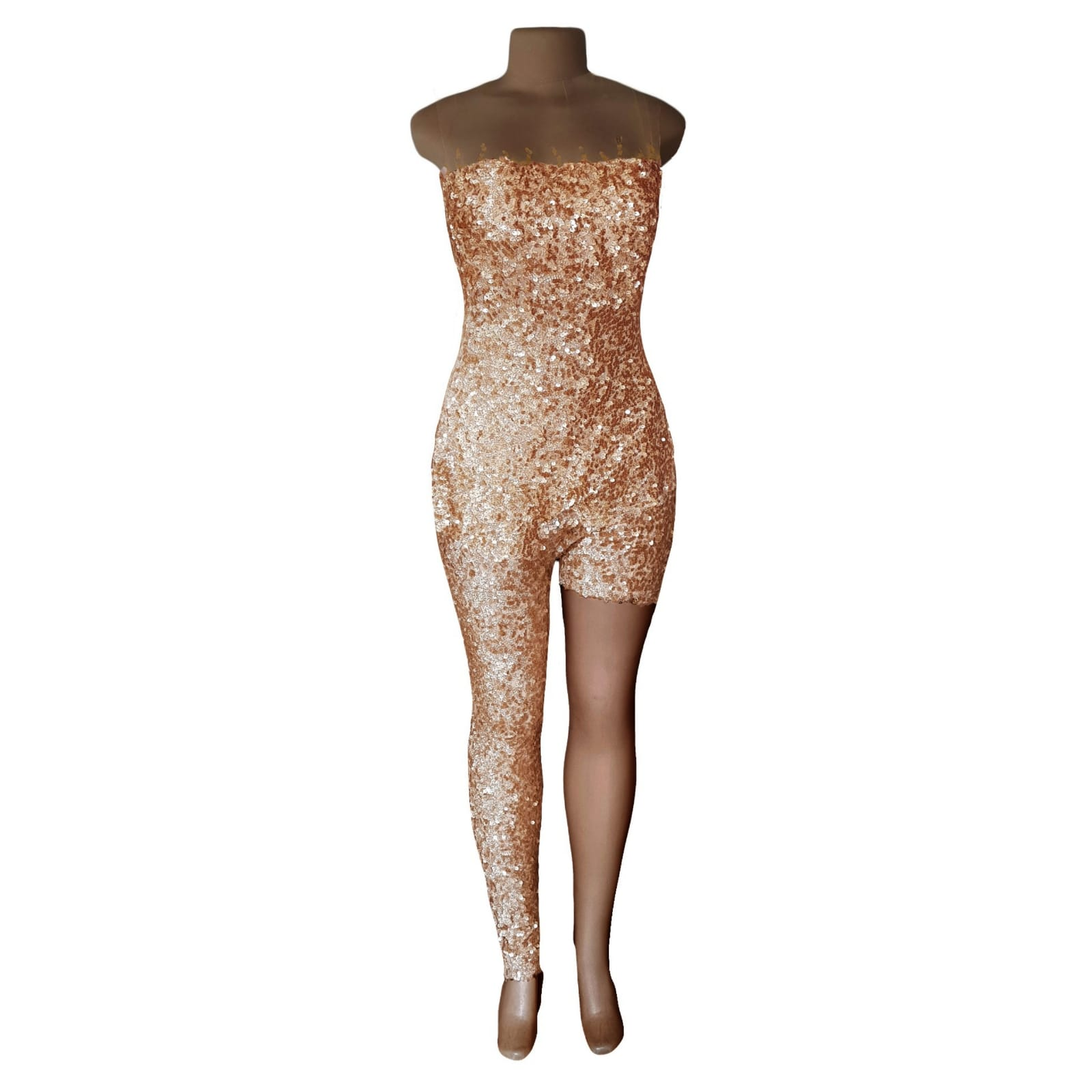 Gold sequins evening wear bodysuit 5 gold sequins evening wear bodysuit with an illusion neckline and sleeves, detailed with gold beads. With a long and short leg. Detachable side gold train.