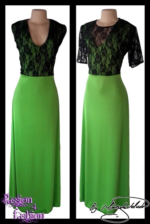 Vestidos de dama de honra verde e preto. Corpete com uma overlayer de renda preta.