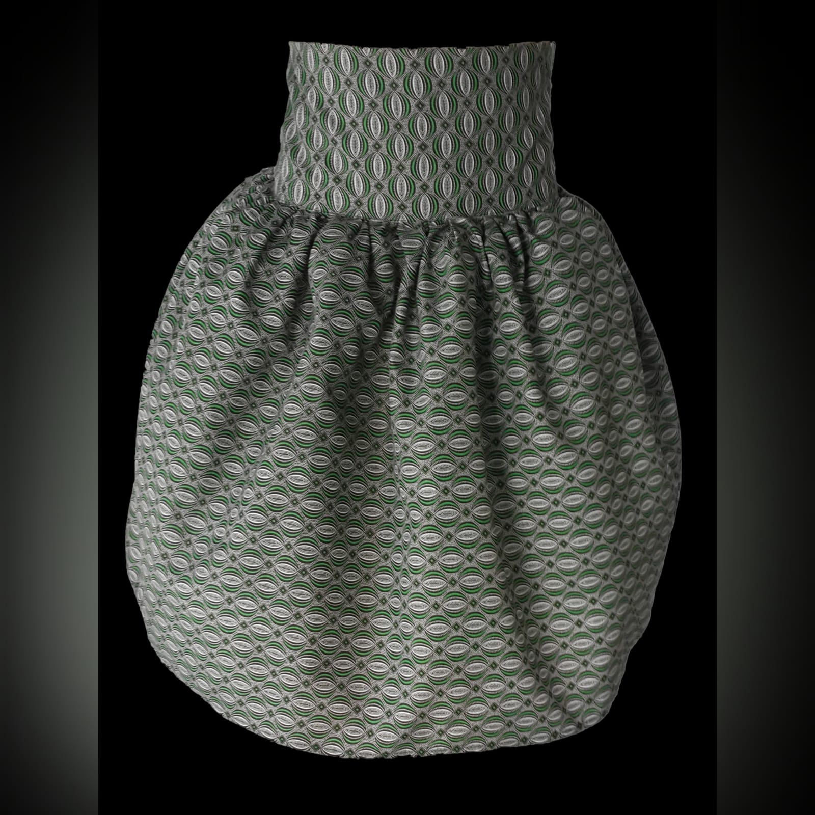 Green gathered high waist traditional skirt in xhosa print 4 a green patterned african gathered high waisted traditional skirt.