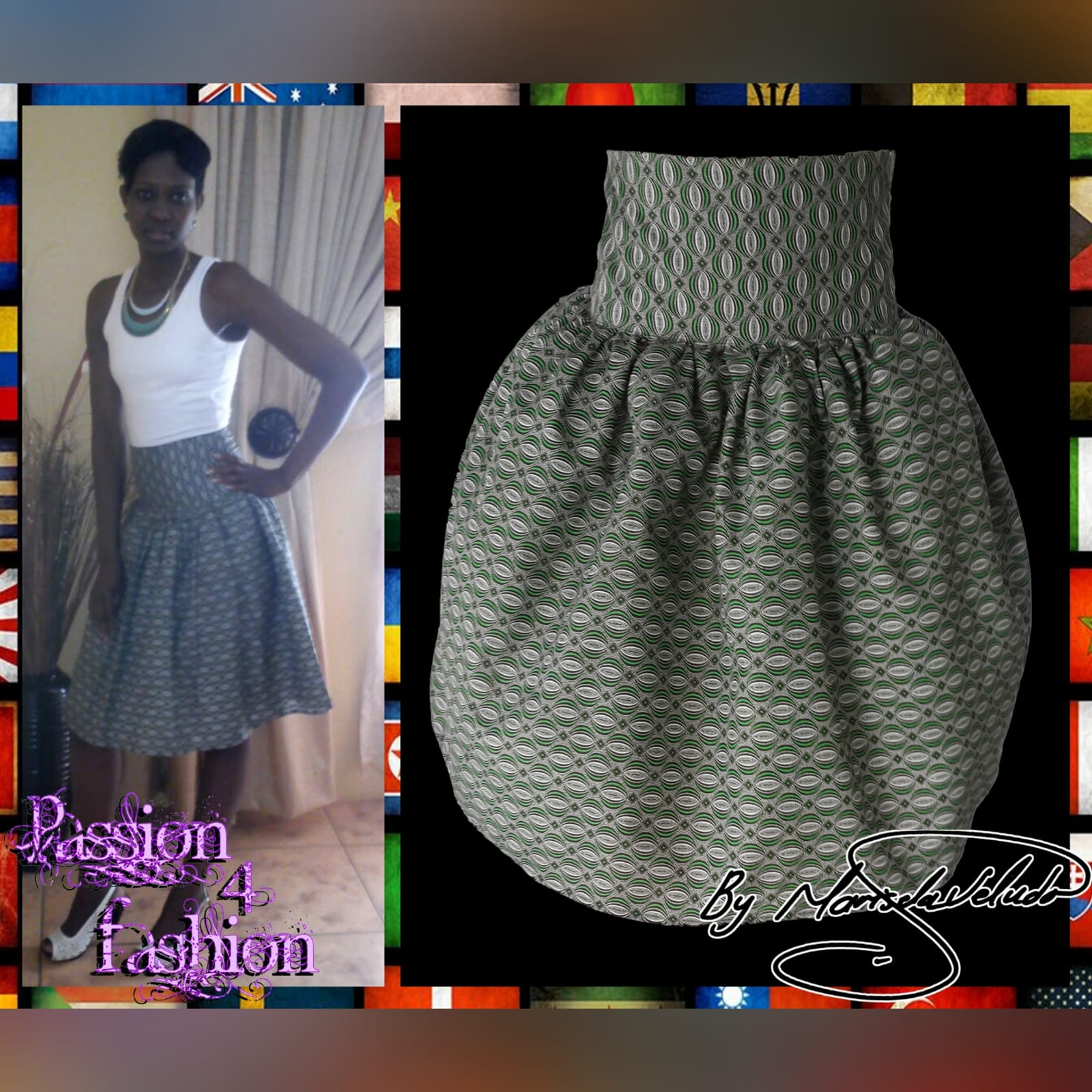 Green gathered high waist traditional skirt in xhosa print 3 a green patterned african gathered high waisted traditional skirt.