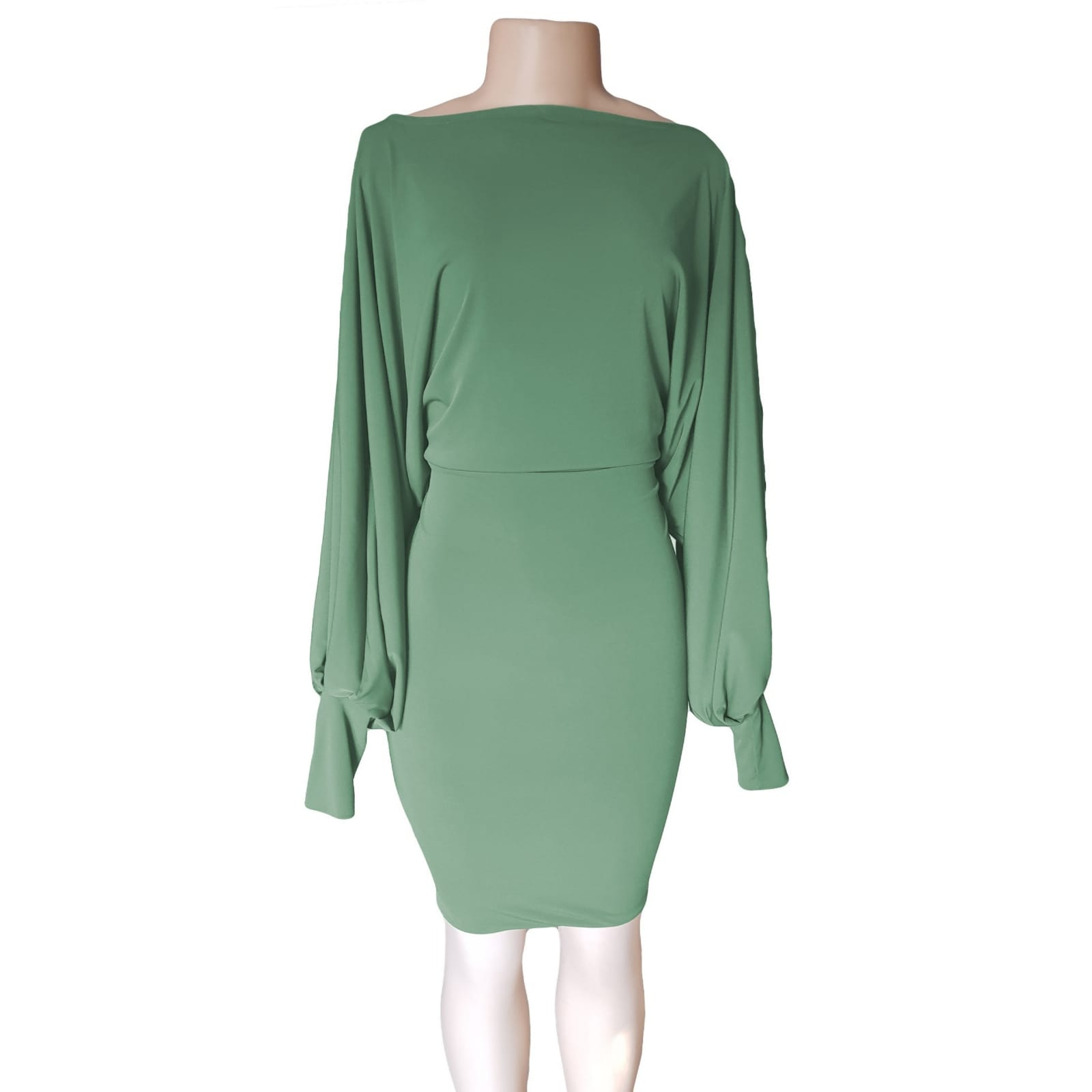 Green knee length smart casual dress 5 green knee length smart casual dress with long bounce sleeves and bodice with a fitted bottom skirt