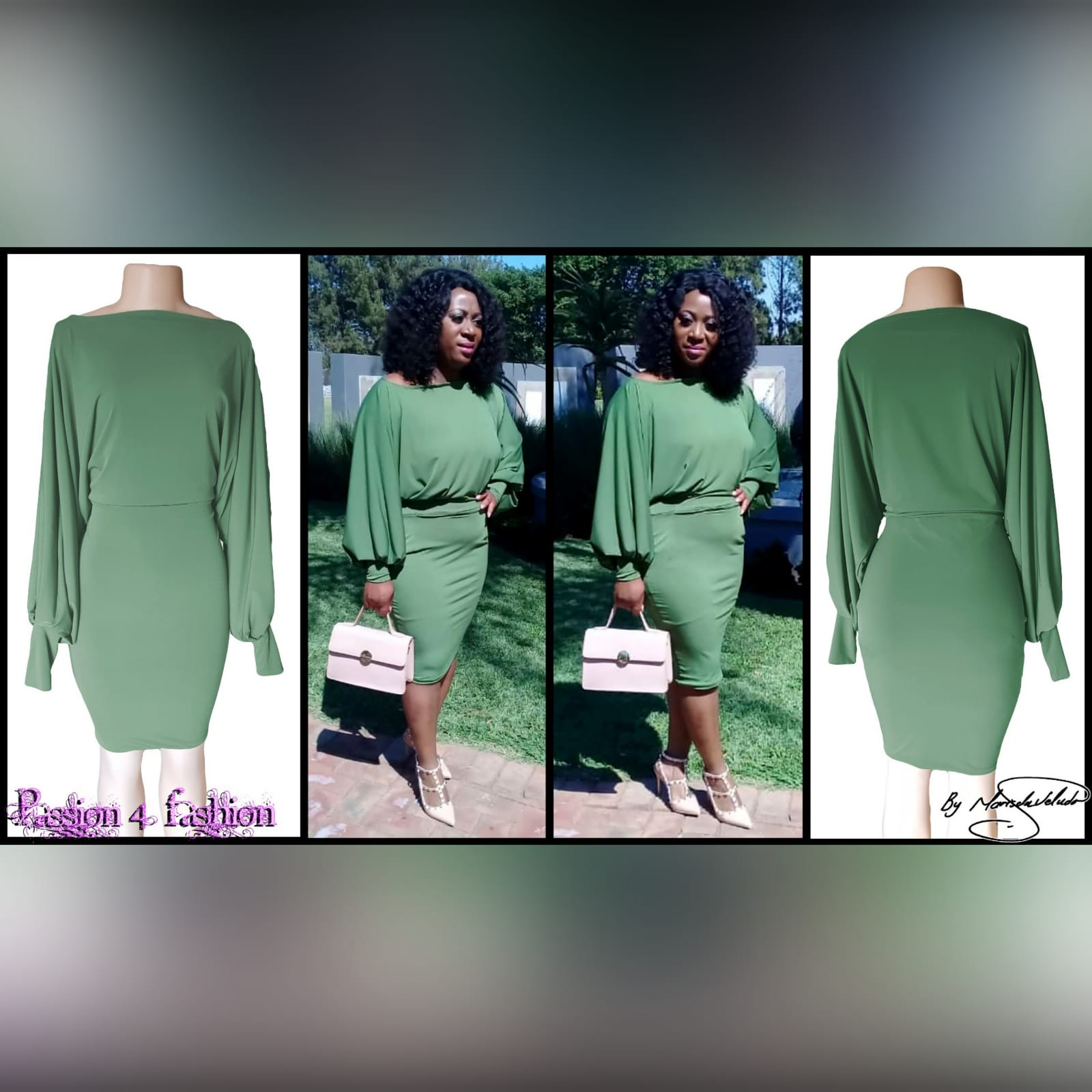 Green knee length smart casual dress 4 green knee length smart casual dress with long bounce sleeves and bodice with a fitted bottom skirt