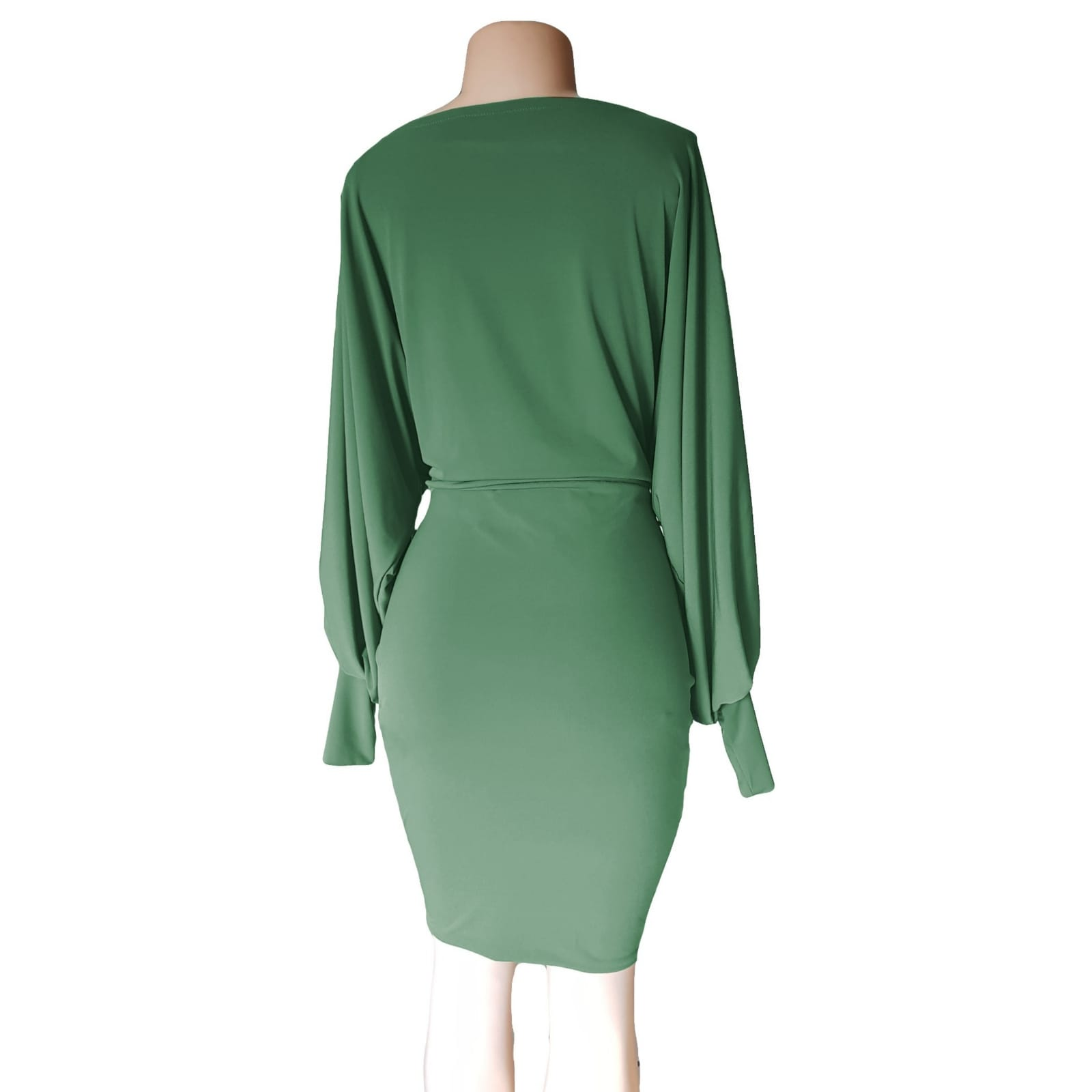 Green knee length smart casual dress 6 green knee length smart casual dress with long bounce sleeves and bodice with a fitted bottom skirt