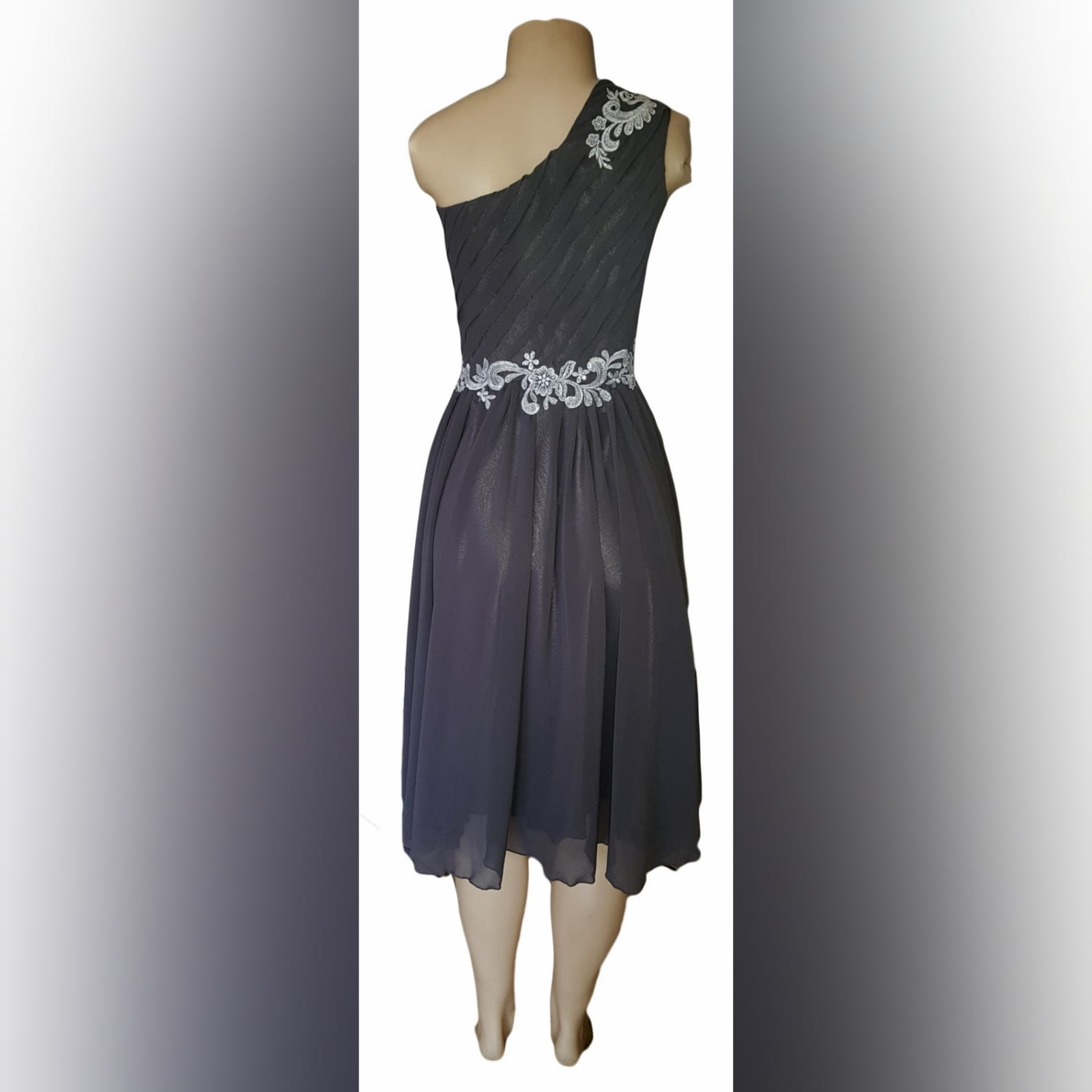 Grey & silver short maid of honour dress 3 grey & silver single shoulder knee length maid of honour dress with a ruched bodice