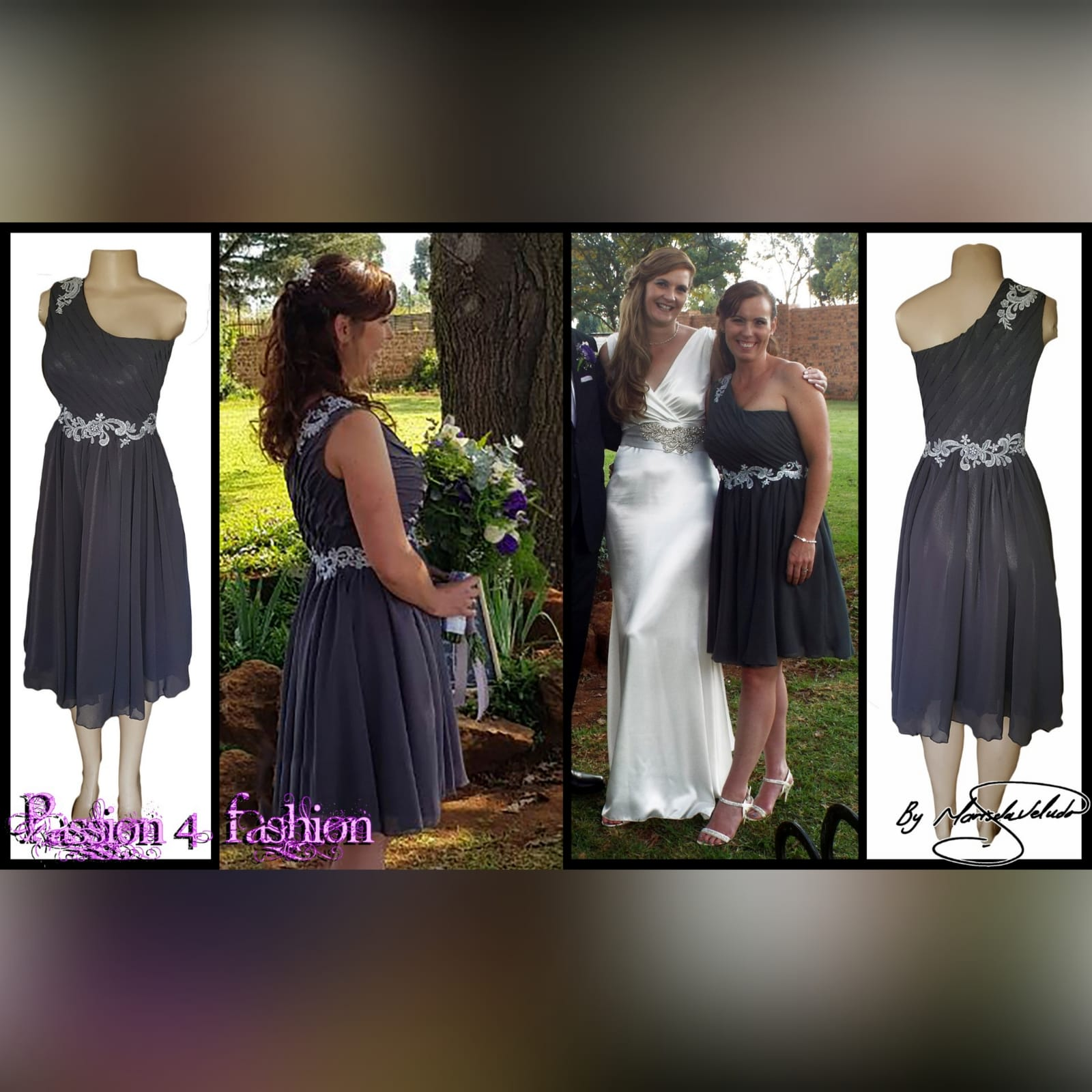 Grey & silver short maid of honour dress 4 grey & silver single shoulder knee length maid of honour dress with a ruched bodice
