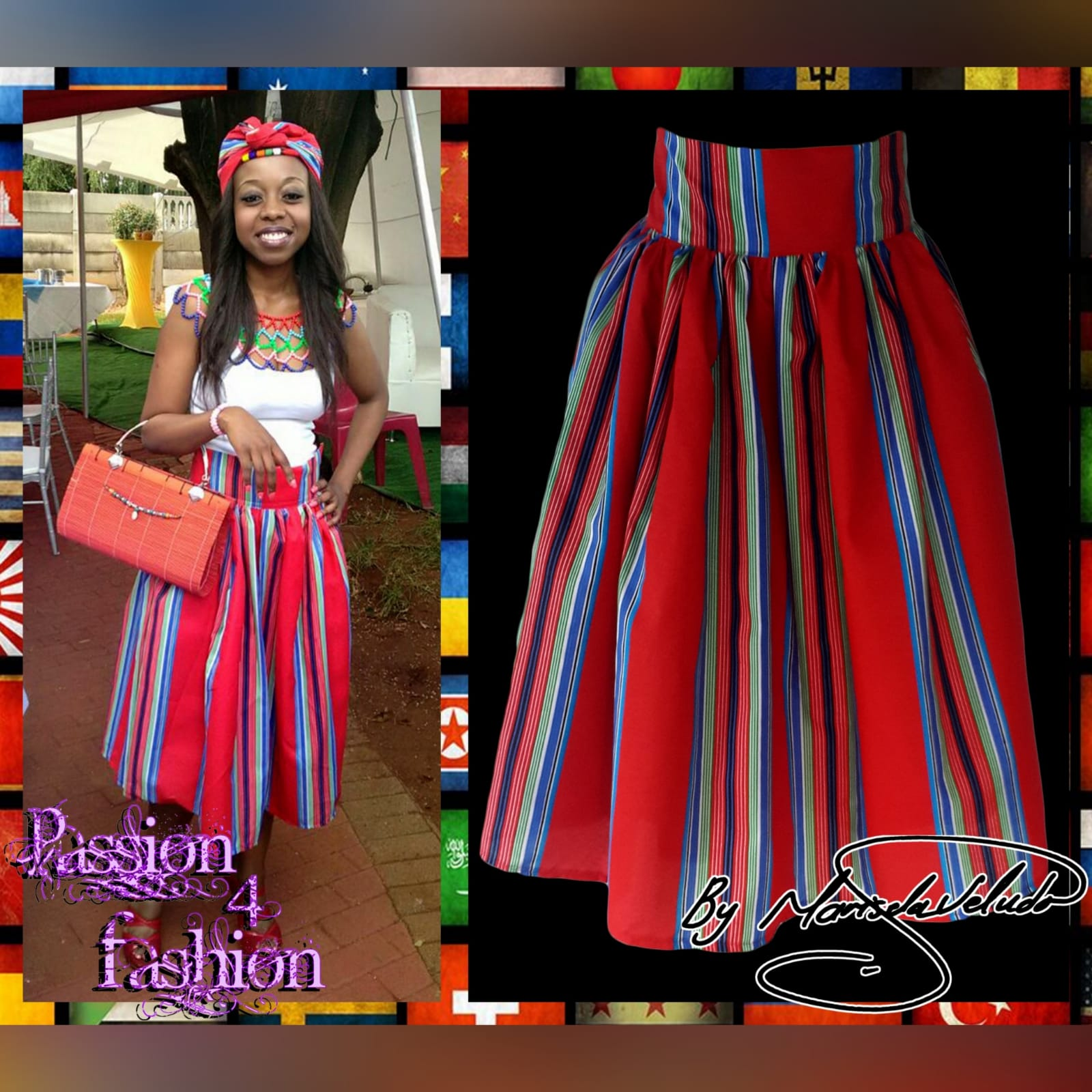 High waist traditional red venda skirt 2 high waist traditional red venda skirt