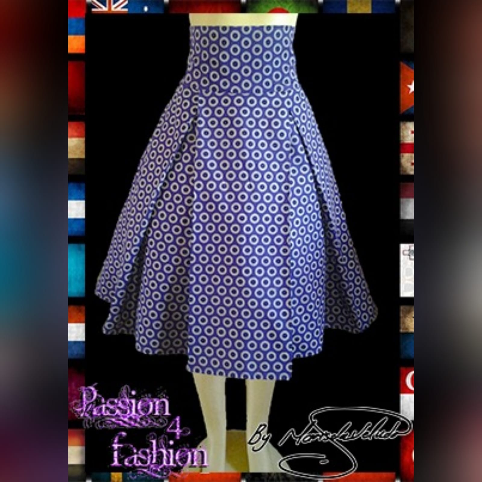 High waisted traditional shweshwe skirt 1 shweshwe traditional skirt with a high wide waistband and large pleats in purple circular shweshwe pattern.