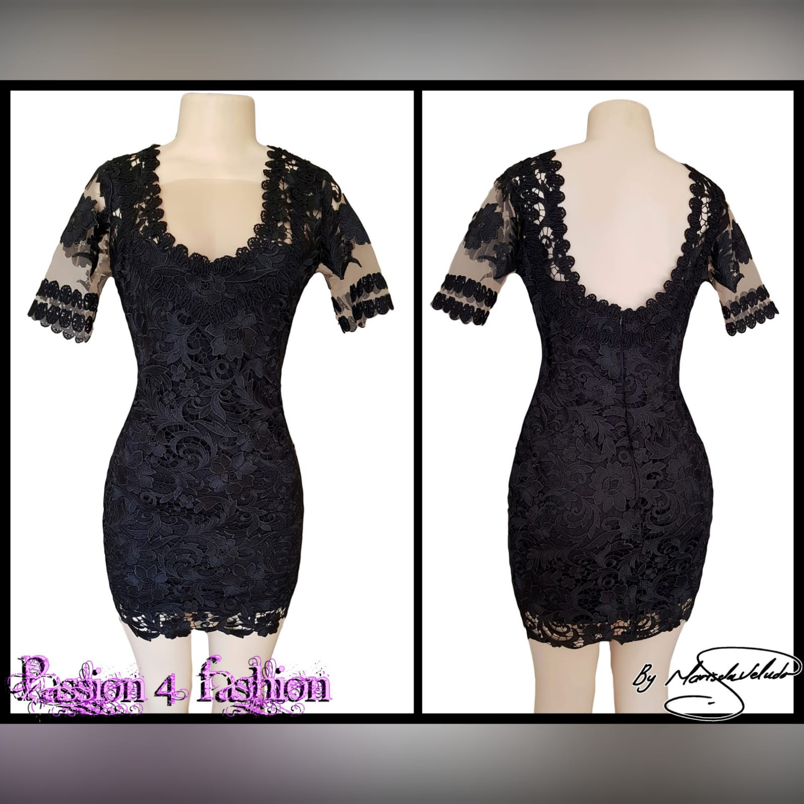 Black short guipure lace evening dress 4 black short guipure lace evening dress with a rounded front and back neckline. With sheers short sleeves detailed with lace.