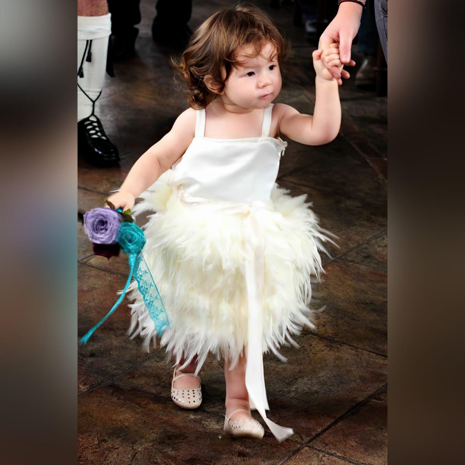 Ivory feather mini brides dress 1 ivory feather mini brides dress