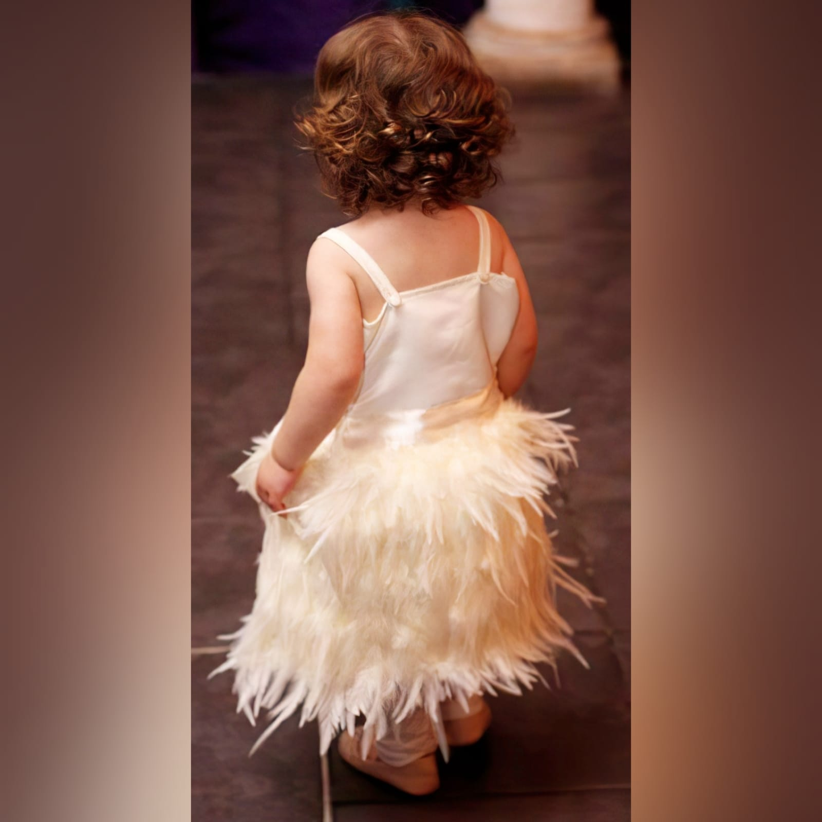 Ivory feather mini brides dress 3 ivory feather mini brides dress