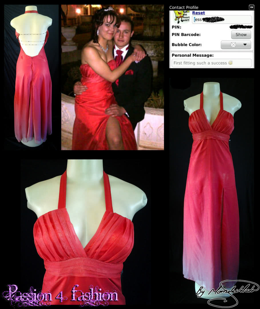 Red ombre shimmer chiffon long prom dress