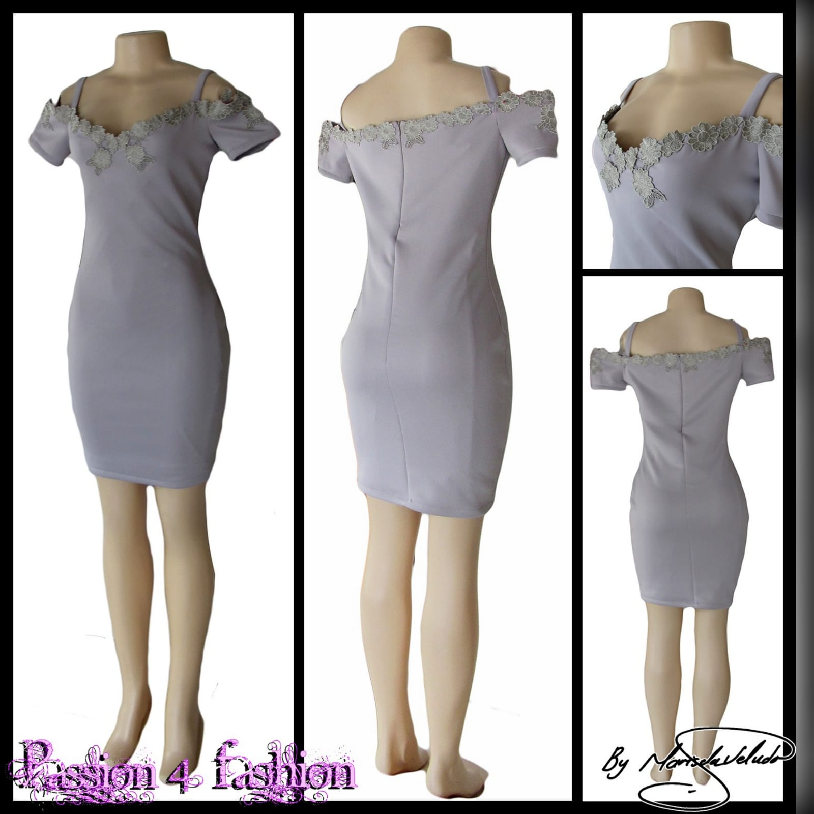 Light grey short fitted smart casual dress 5 light grey short fitted smart casual dress, with off shoulder shorter sleeves and shoulder straps. Neckline detailed with silver lace.