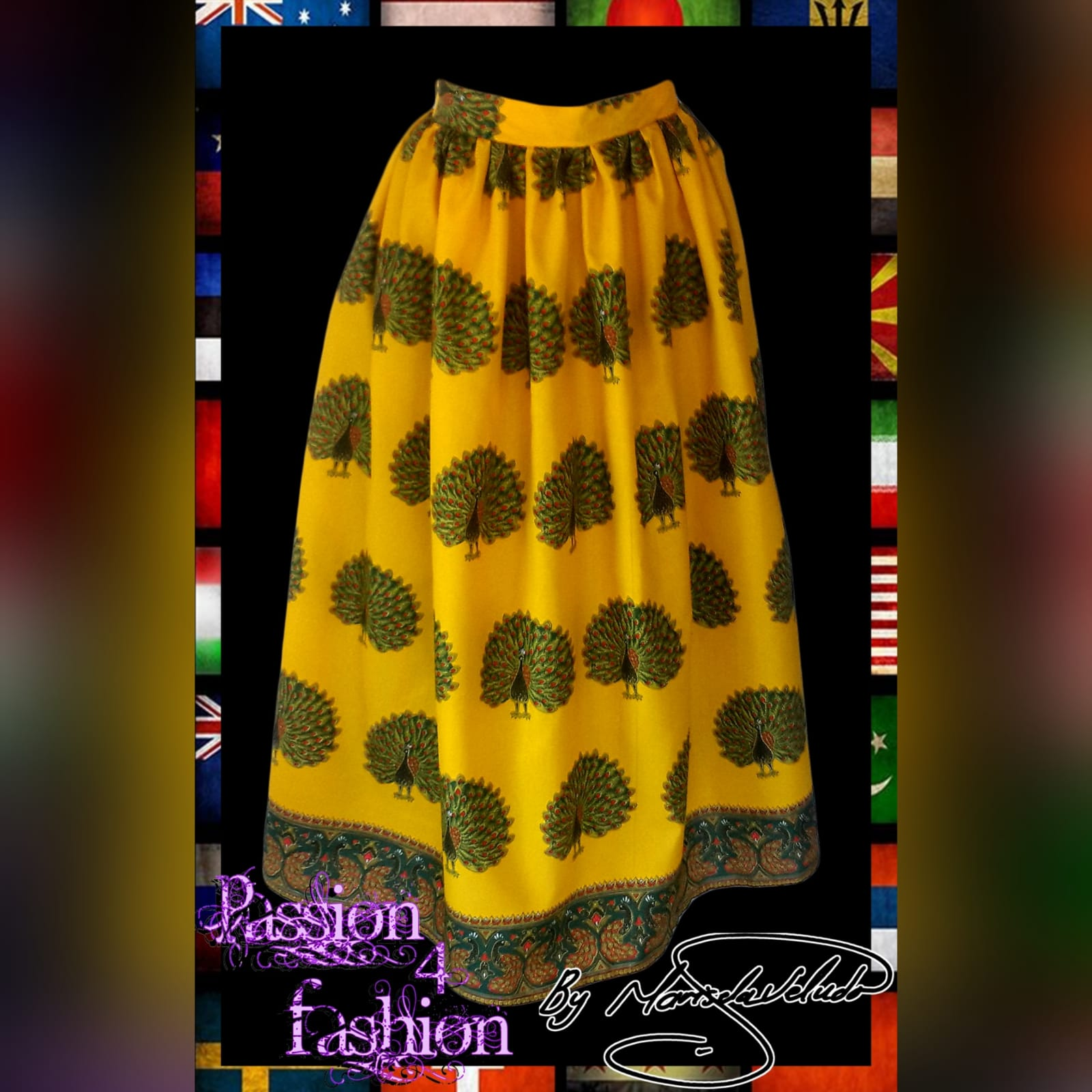 Long ankle length traditional gathered skirt 1 long/ankle length traditional gathered skirt in yellow with a peacock print