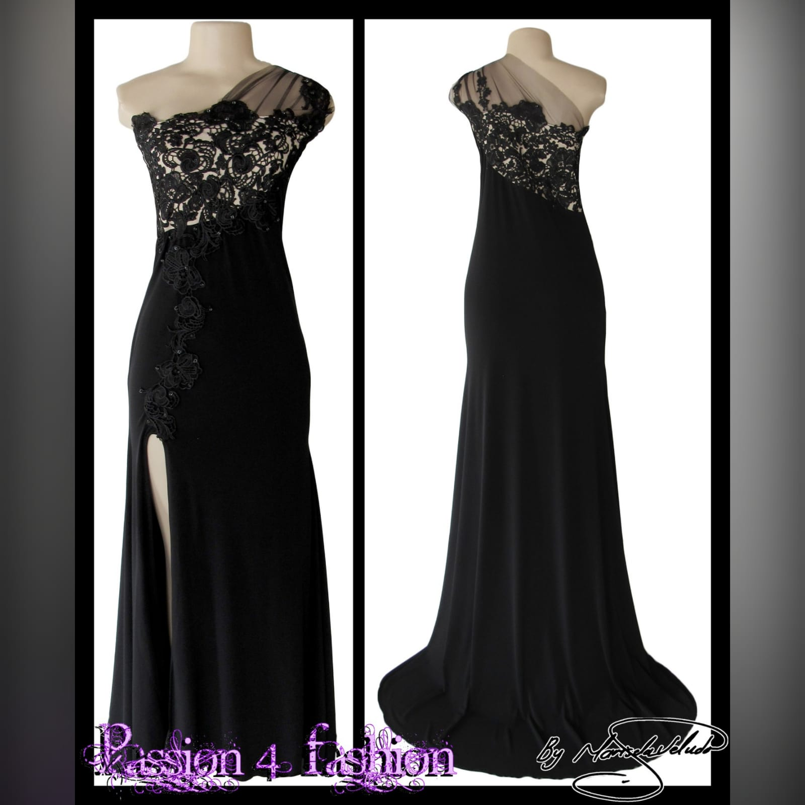 Long black evening dress with lace 3 single shoulder, lace bodice long black evening dress. With a slit and a train