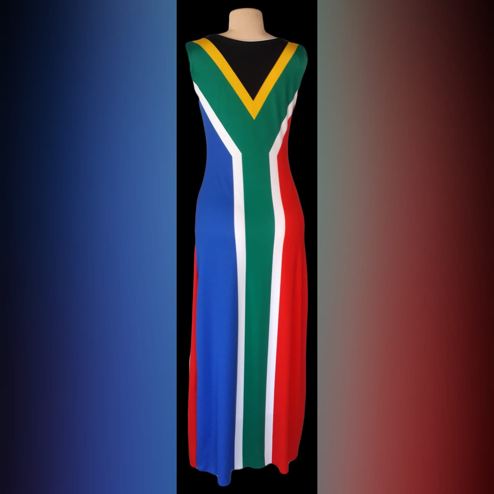Long custom printed south african flag dress 3 long custom printed south african flag dress (flag in front and the back) with matching bow ties that you can request at an extra cost when you order your dress.