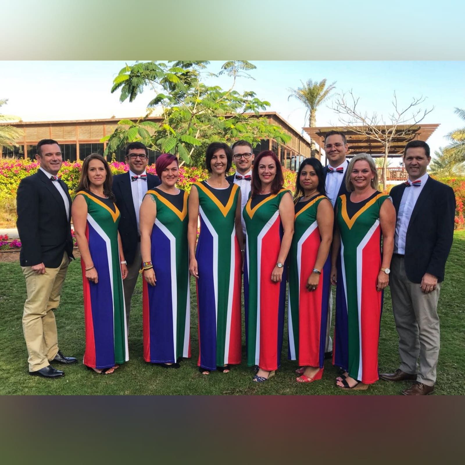 Long custom printed south african flag dress 1 long custom printed south african flag dress (flag in front and the back) with matching bow ties that you can request at an extra cost when you order your dress.