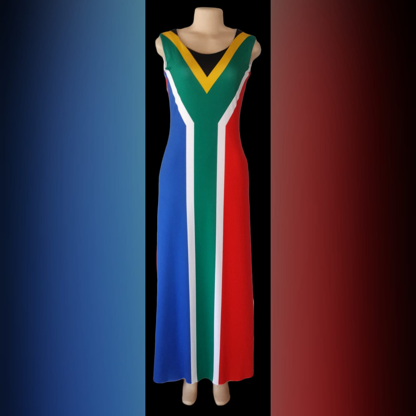 Long custom printed south african flag dress 5 long custom printed south african flag dress (flag in front and the back) with matching bow ties that you can request at an extra cost when you order your dress.