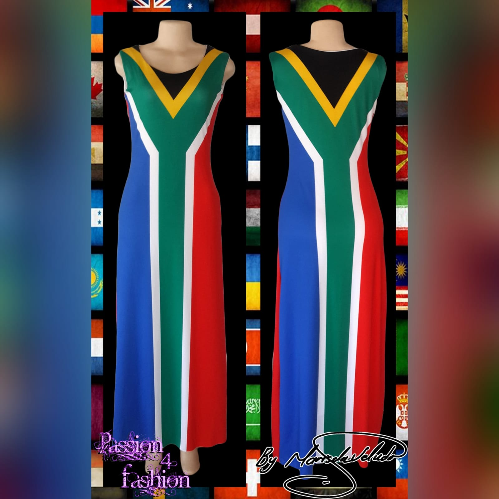 Long custom printed south african flag dress 2 long custom printed south african flag dress (flag in front and the back) with matching bow ties that you can request at an extra cost when you order your dress.