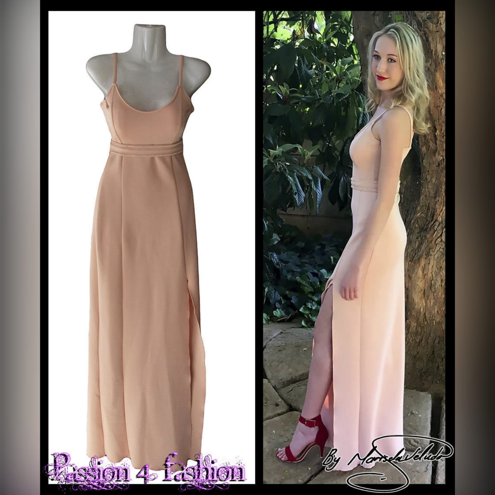 Long fitted peachy nude smart casual panel dress 4 long fitted peachy nude smart casual panel dress with a slit, shoulder straps and a removable waist belt detailed with diamante.