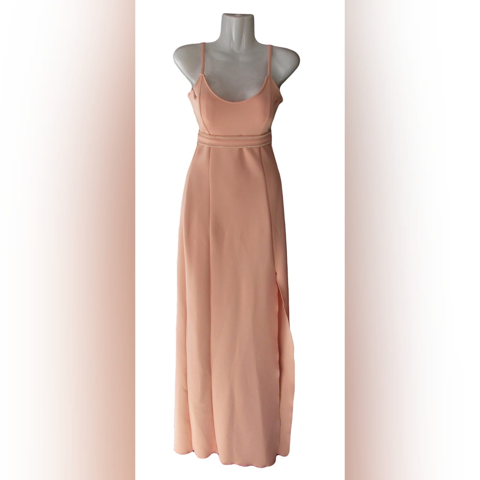 Long fitted peachy nude smart casual panel dress 3 long fitted peachy nude smart casual panel dress with a slit, shoulder straps and a removable waist belt detailed with diamante.