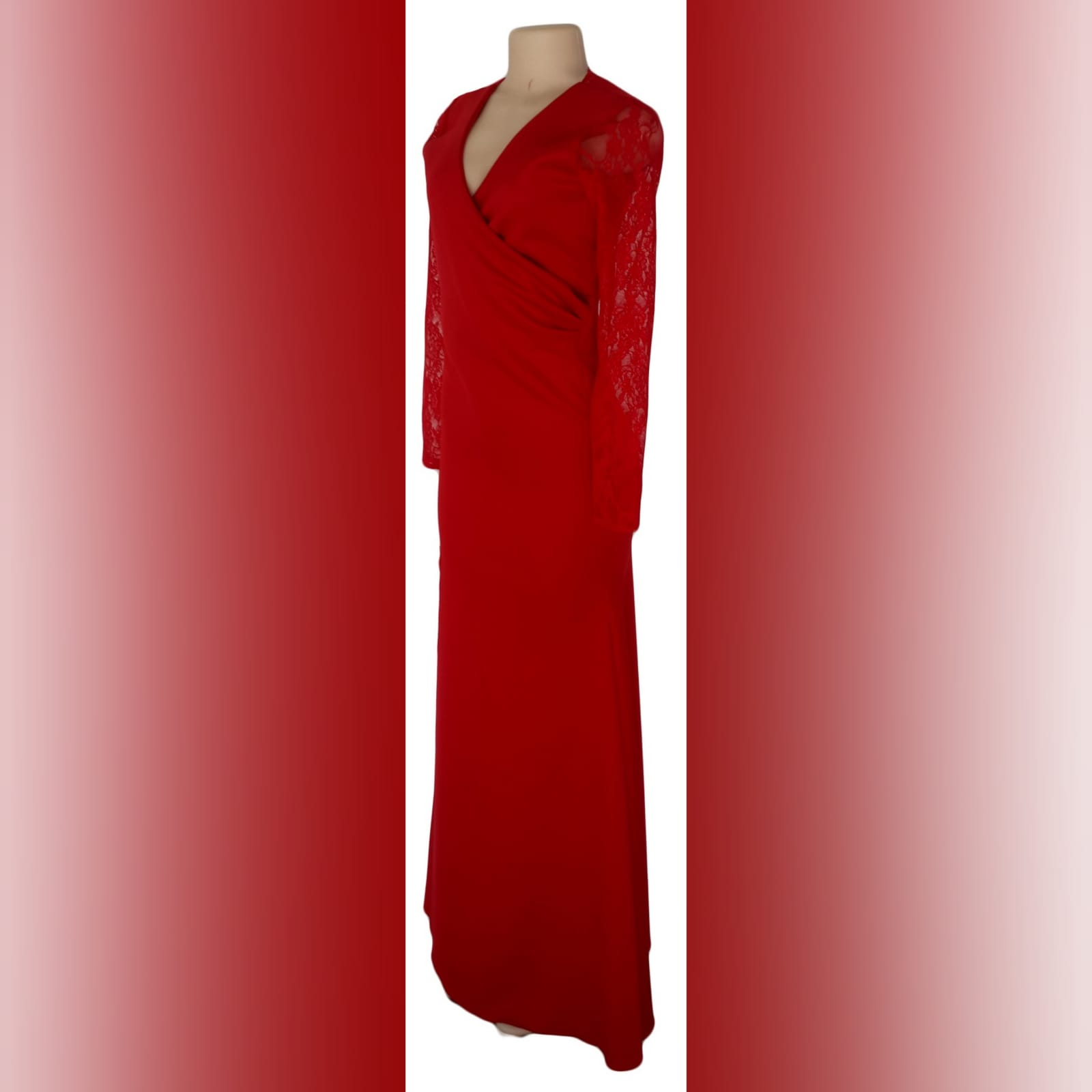 Long red cross busted evening party dress 3 long red cross busted evening party dress with long lace sleeves. With back neckline in lace. With a slit