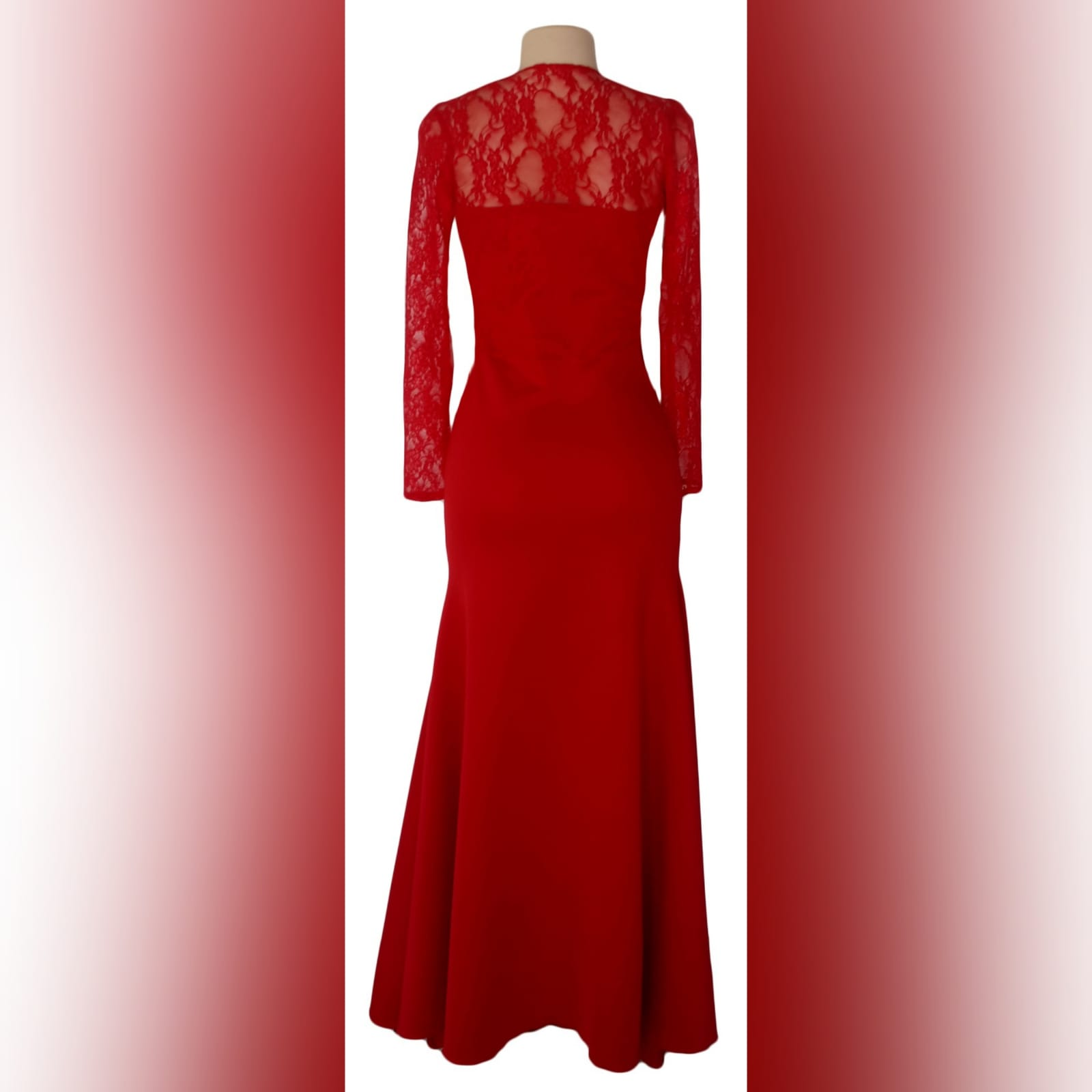 Long red cross busted evening party dress 4 long red cross busted evening party dress with long lace sleeves. With back neckline in lace. With a slit