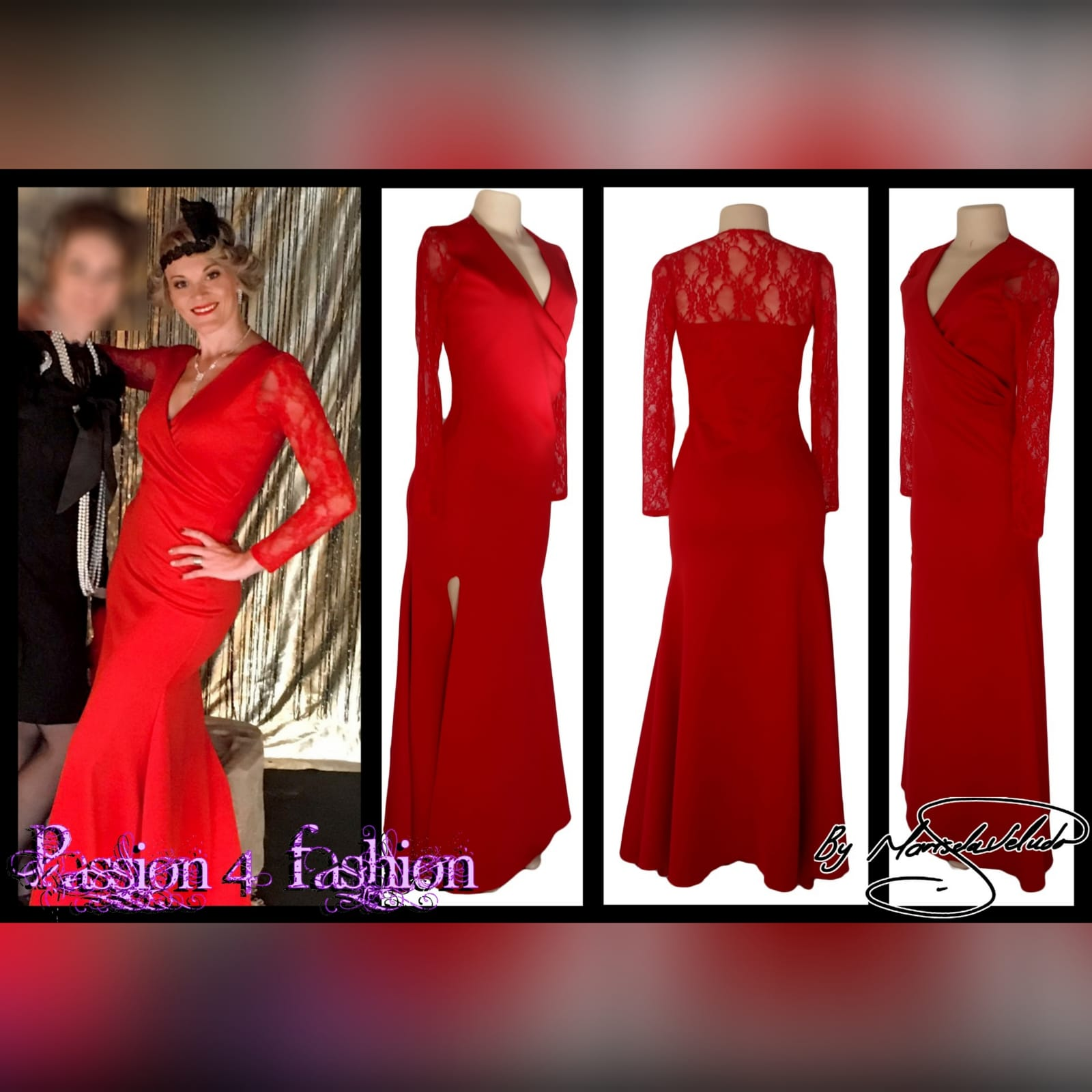 Long red cross busted evening party dress 5 long red cross busted evening party dress with long lace sleeves. With back neckline in lace. With a slit