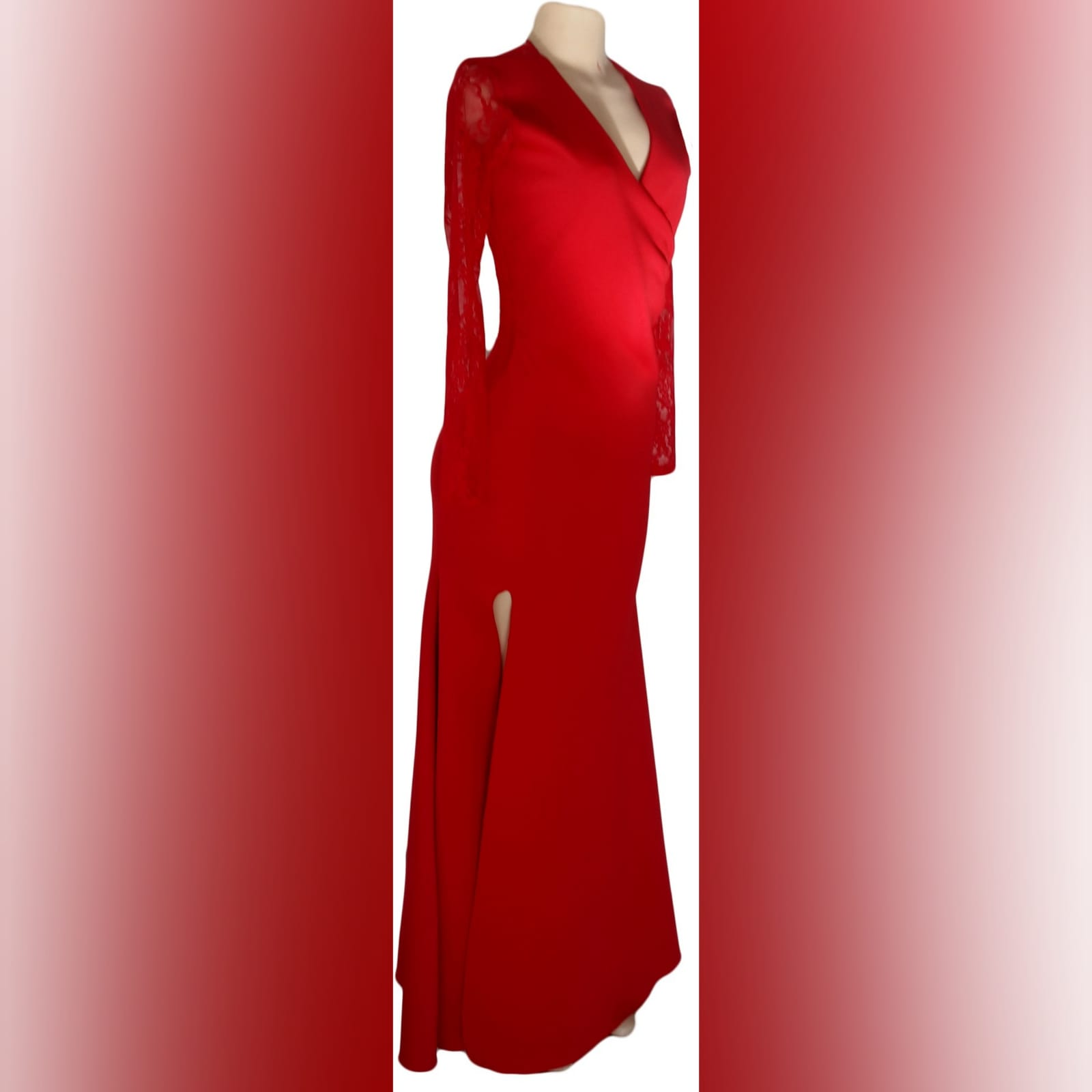 Long red cross busted evening party dress 6 long red cross busted evening party dress with long lace sleeves. With back neckline in lace. With a slit