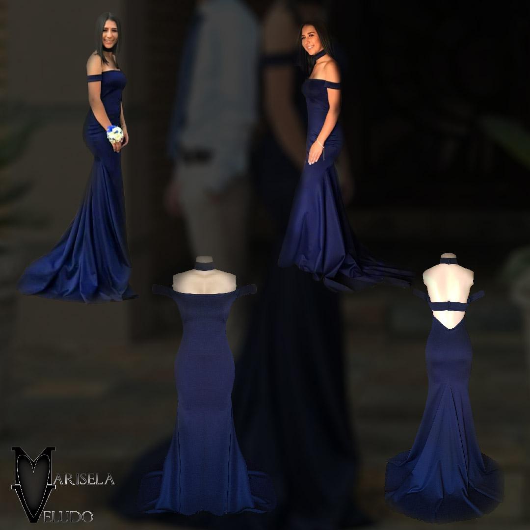 Simples vestido de noite azul-marinho chic e sexy 3 a criação de um simples vestido de noite azul-marinho chic e sexy para a noite especial de chloe. Com o design fora do ombro de tendências, um toque de sensualidade com as costas abertas e um trem para criar uma entrada sofisticada e importante em sua ocasião de noite.