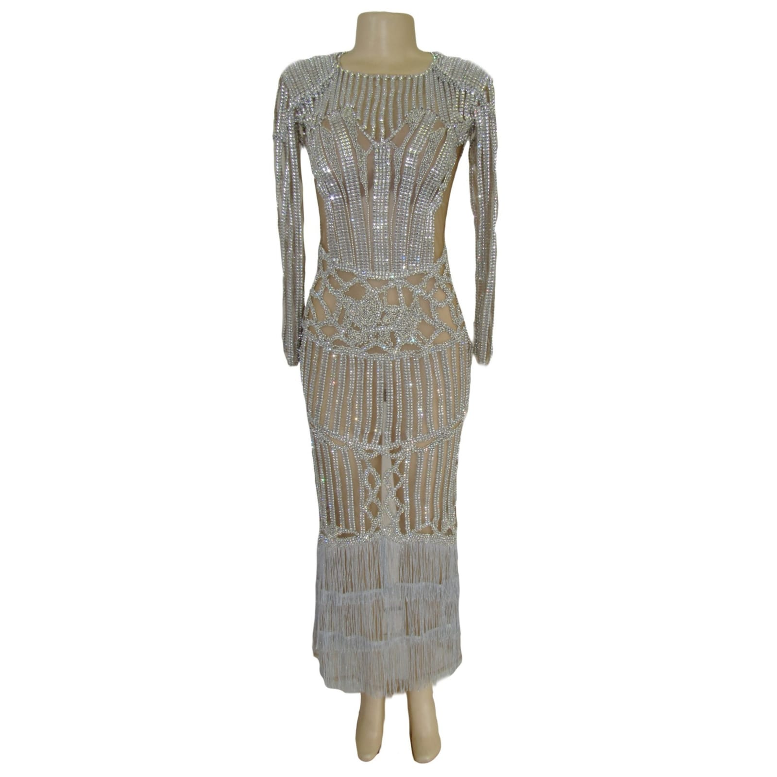 Long sheer fully beaded matric farewell dress with long sleeves 6 long sheer fully beaded matric farewell dress with long sleeves, tassels and a back high slit. With padded shoulders.
