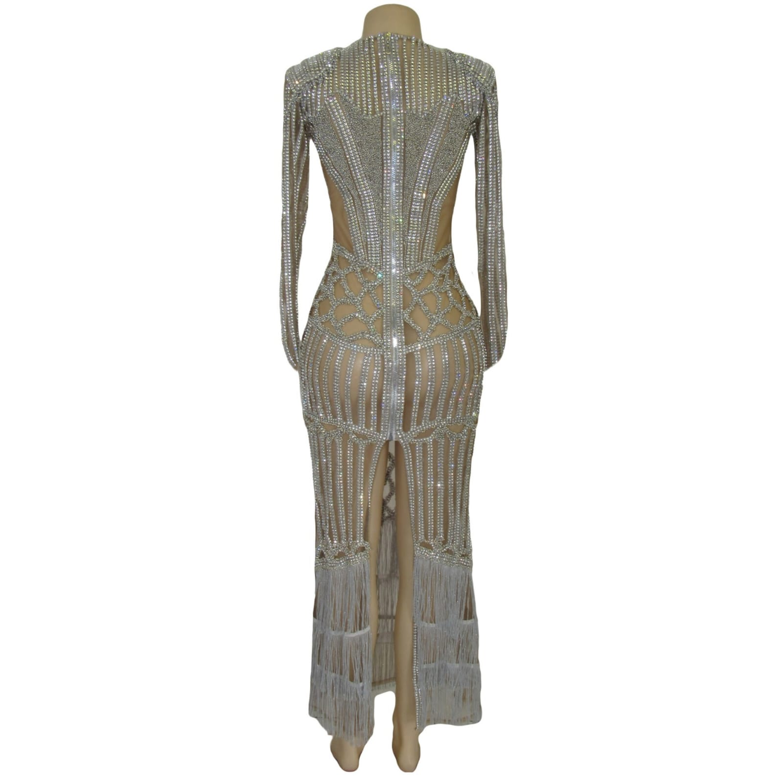 Long sheer fully beaded matric farewell dress with long sleeves 9 long sheer fully beaded matric farewell dress with long sleeves, tassels and a back high slit. With padded shoulders.
