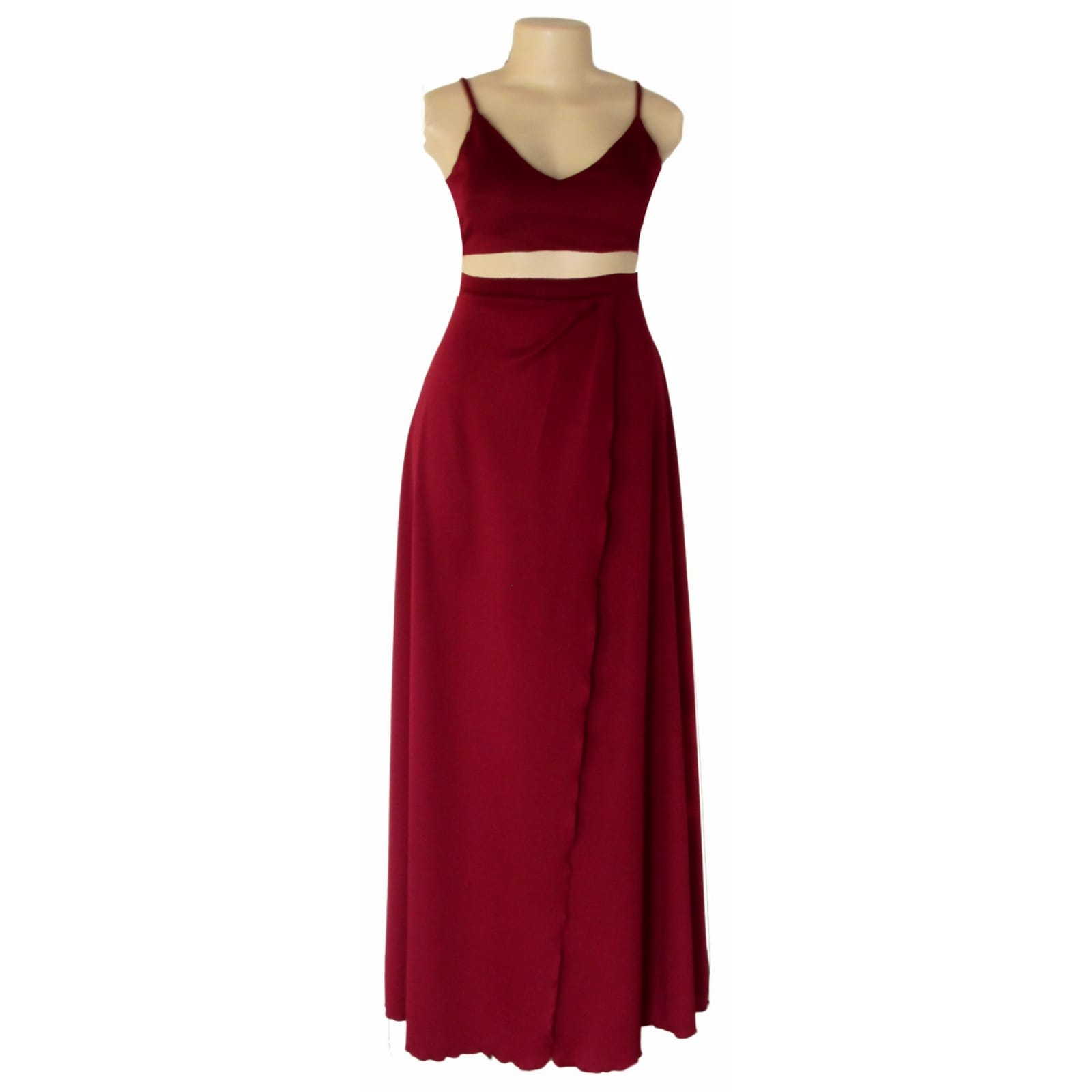 Maroon 2 piece smart casual wear 1 maroon 2 piece smart casual wear with a crop top and a long skirt with a crossed slit.