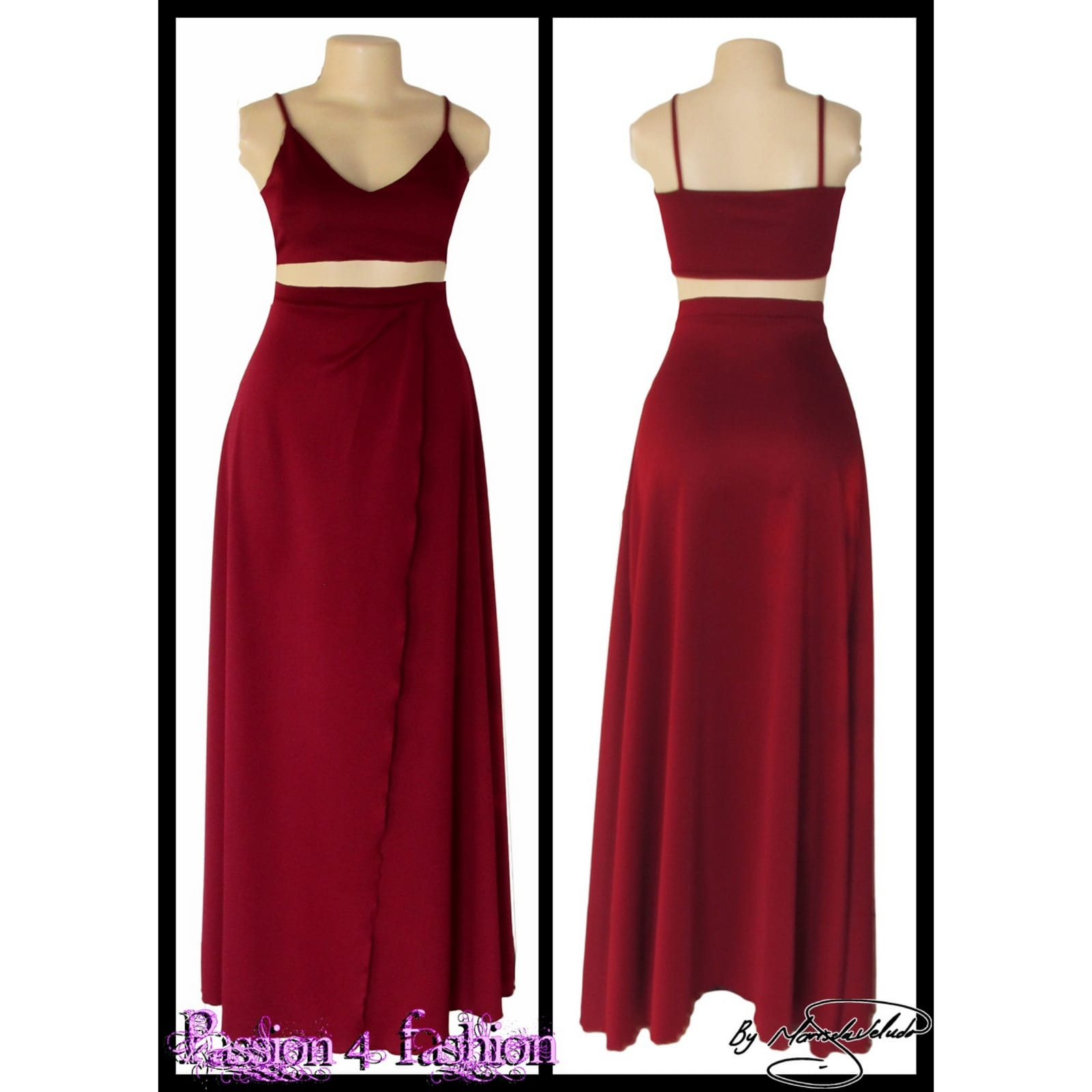 Maroon 2 piece smart casual wear 2 maroon 2 piece smart casual wear with a crop top and a long skirt with a crossed slit.