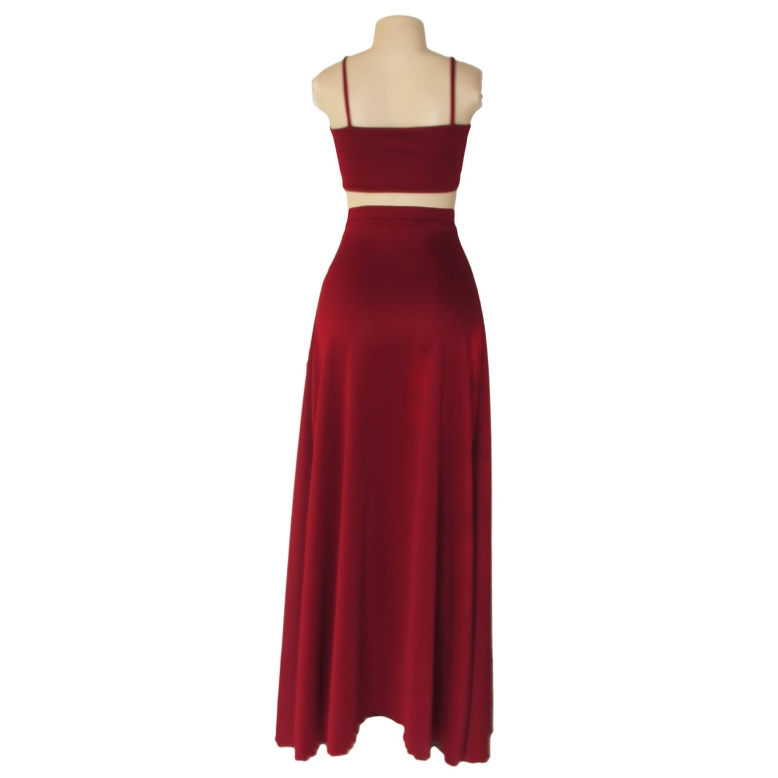 Maroon 2 piece smart casual wear 4 maroon 2 piece smart casual wear with a crop top and a long skirt with a crossed slit.