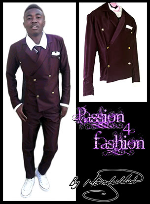 Maroon double breasted mens 2 piece suit