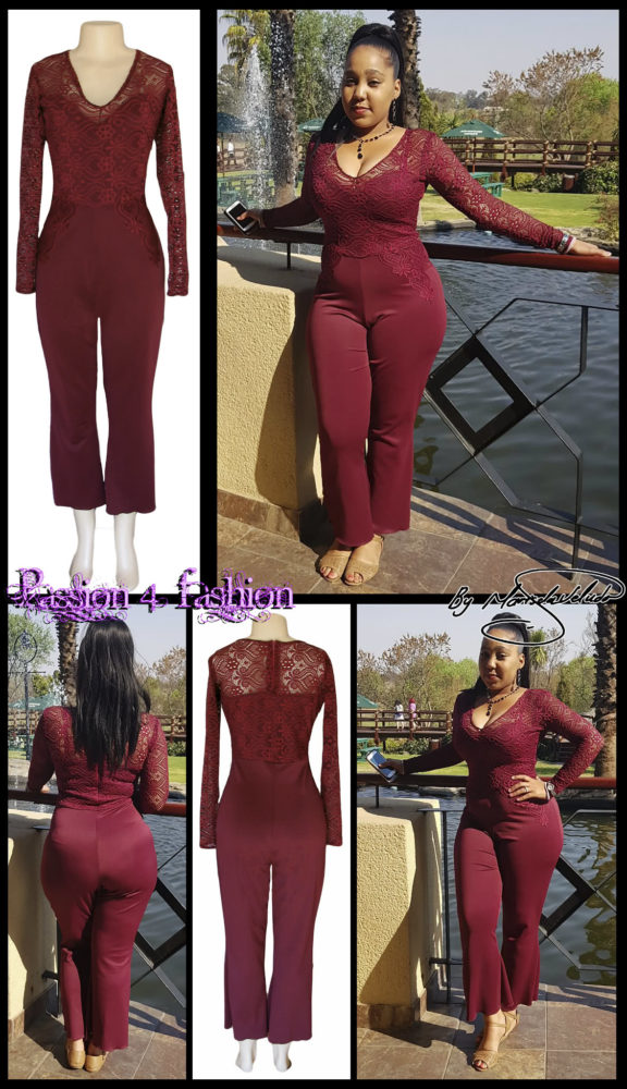 Maroon long leg evening wear bodysuit with a lace bodice and lace detail on the hips. With long lace sleeves.