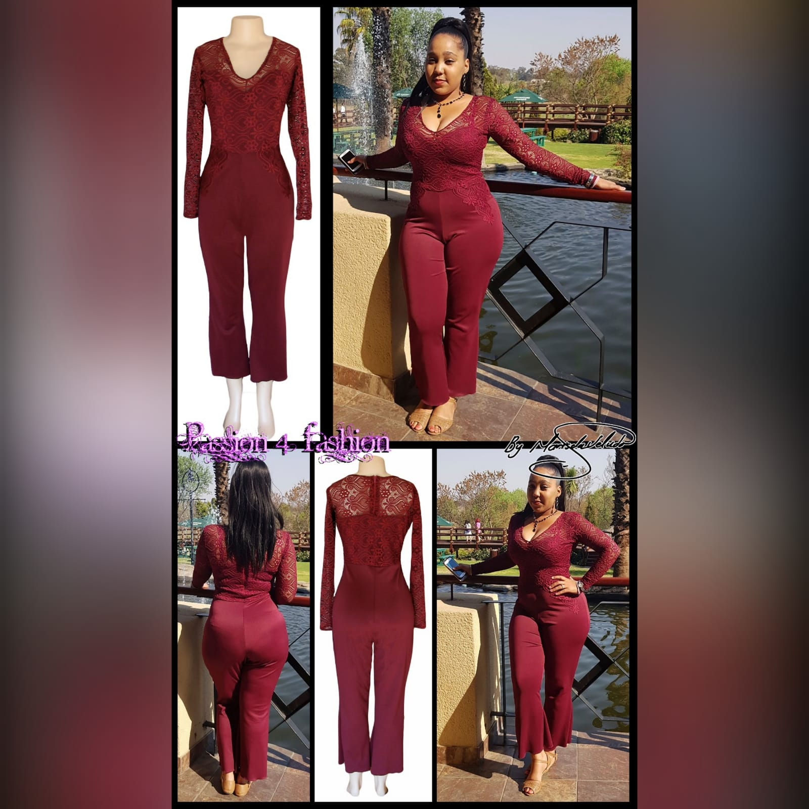Maroon long leg evening wear bodysuit 3 maroon long leg evening wear bodysuit with a lace bodice and lace detail on the hips. With long lace sleeves.