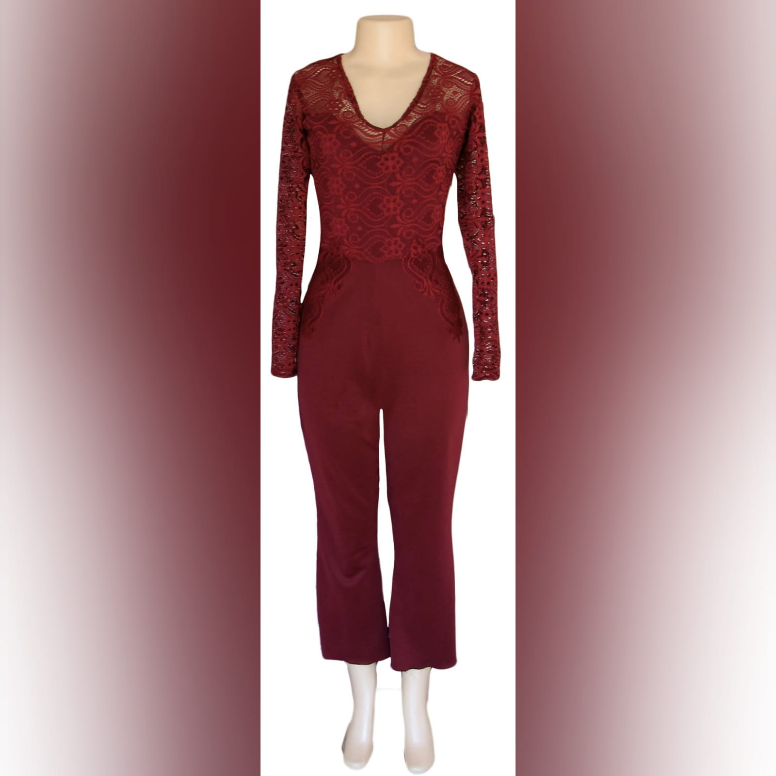 Maroon long leg evening wear bodysuit 4 maroon long leg evening wear bodysuit with a lace bodice and lace detail on the hips. With long lace sleeves.