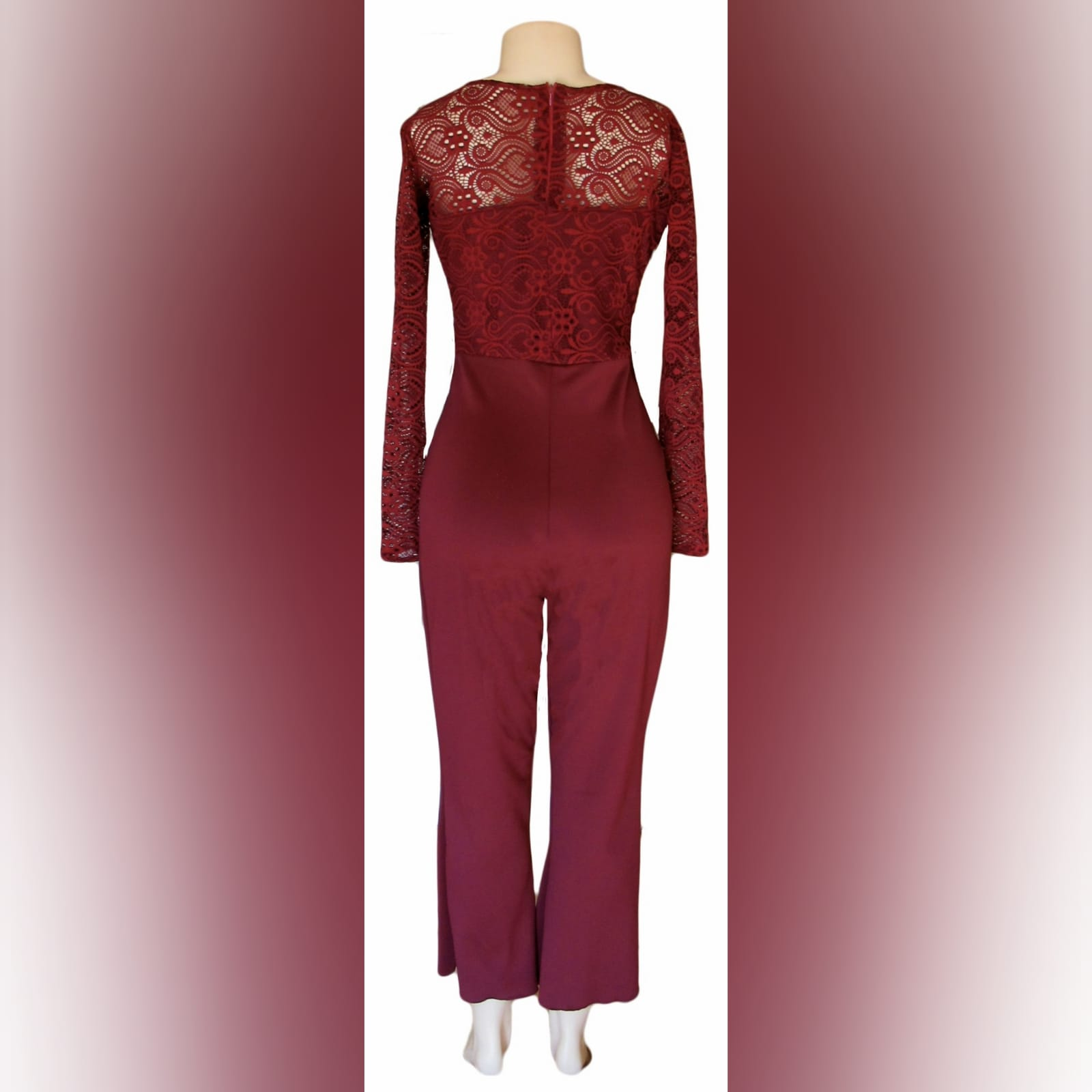 Maroon long leg evening wear bodysuit 5 maroon long leg evening wear bodysuit with a lace bodice and lace detail on the hips. With long lace sleeves.