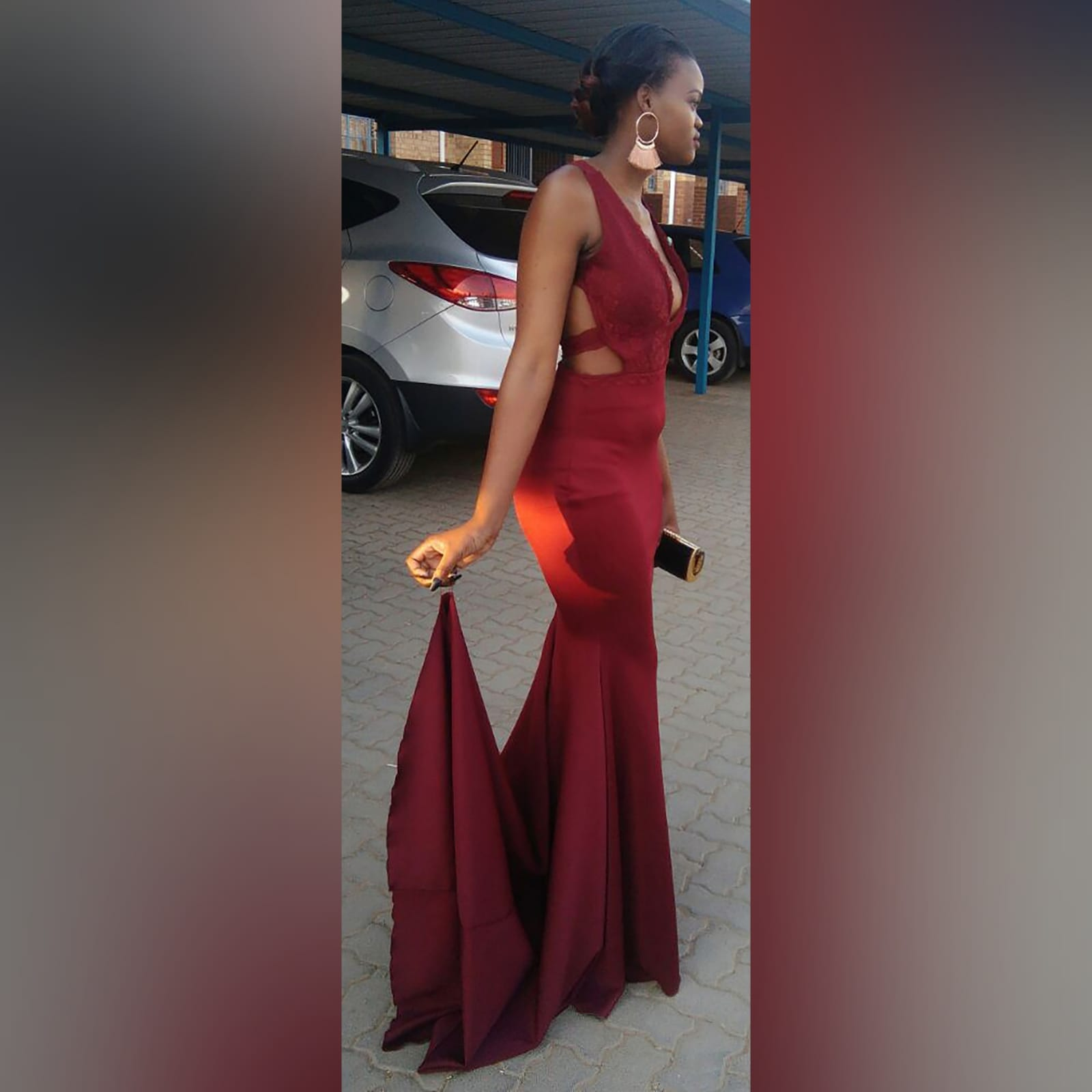 Maroon plunging neckline lace bodice matric dance dress 7 maroon plunging neckline lace bodice, soft mermaid matric dress with a train and an open back detailed with lace straps.